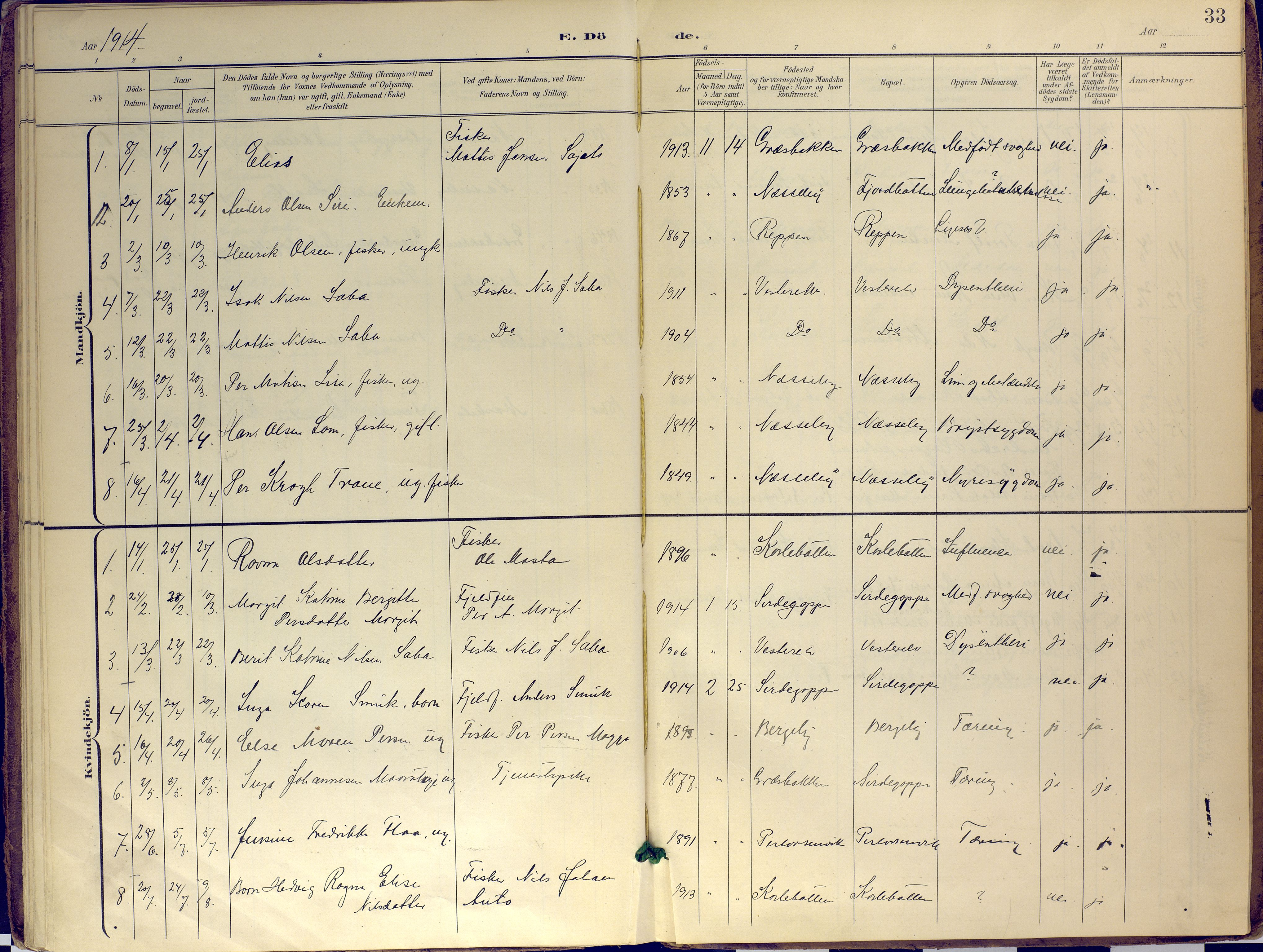 SATØ, Nesseby sokneprestkontor, H/Ha/L0007kirke: Ministerialbok nr. 7, 1898-1921, s. 33