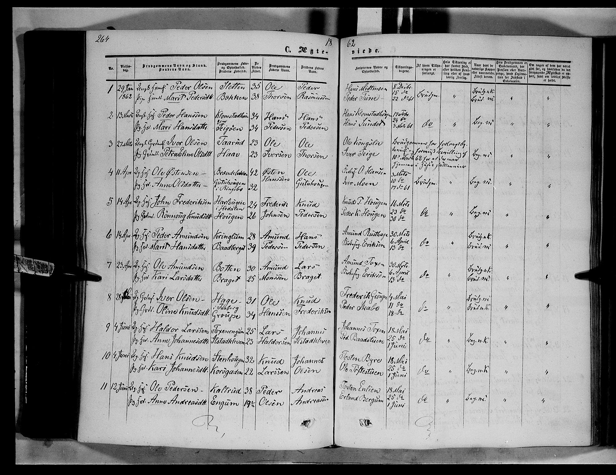 SAH, Nord-Fron prestekontor, Ministerialbok nr. 1, 1851-1864, s. 264