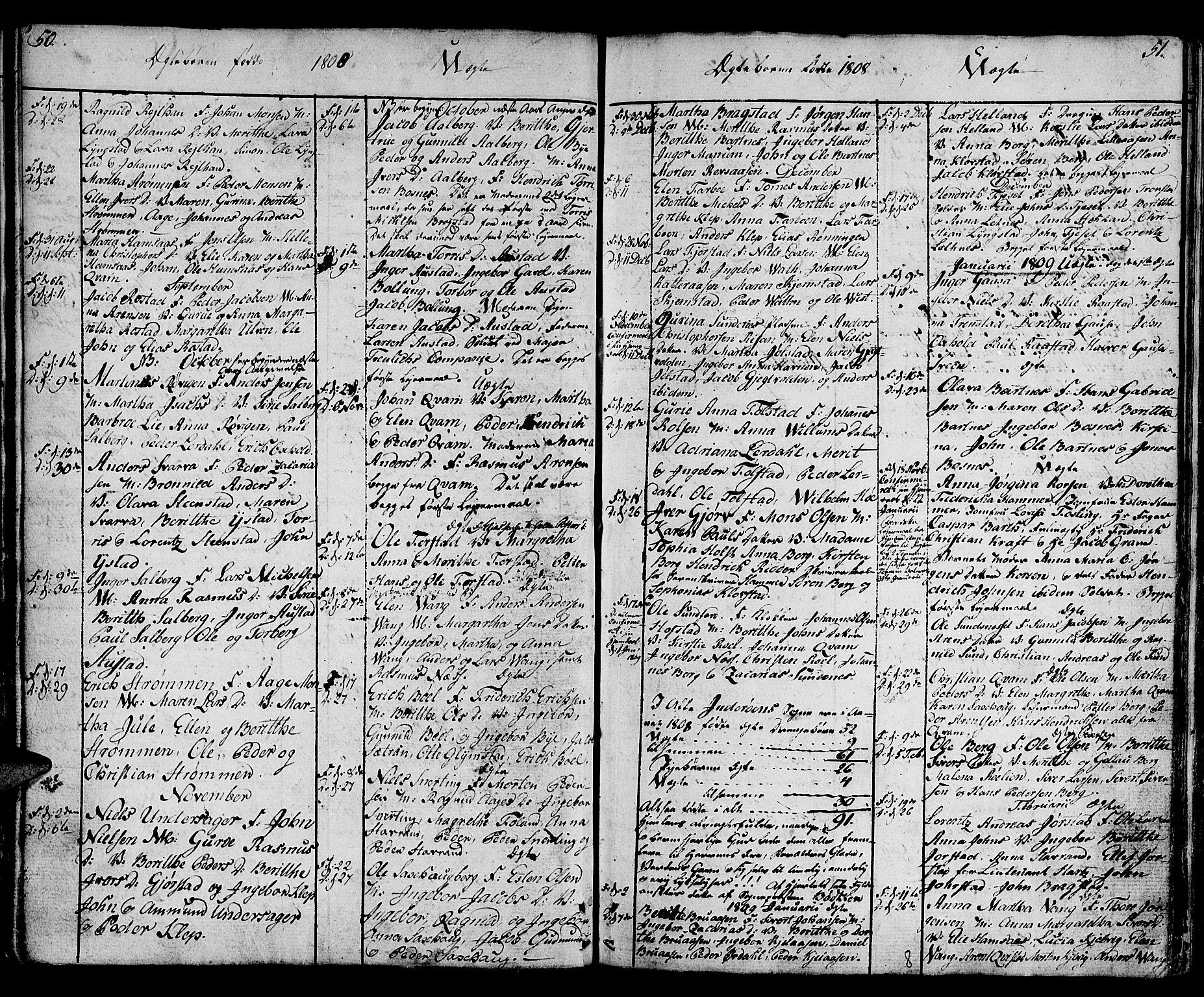 SAT, Ministerialprotokoller, klokkerbøker og fødselsregistre - Nord-Trøndelag, 730/L0274: Ministerialbok nr. 730A03, 1802-1816, s. 50-51
