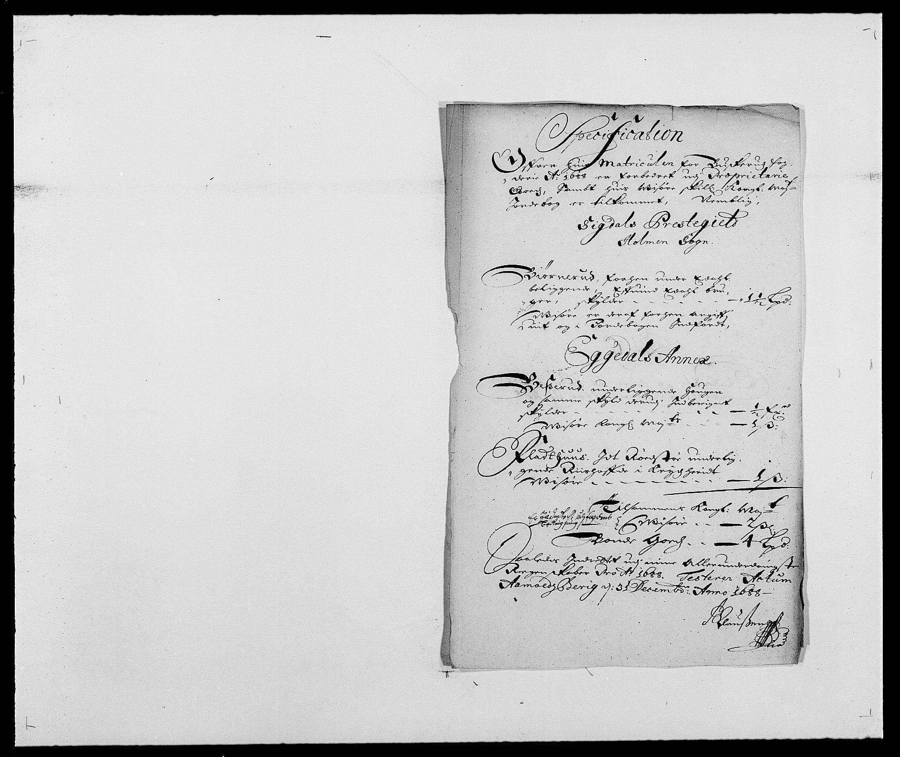 RA, Rentekammeret inntil 1814, Reviderte regnskaper, Fogderegnskap, R25/L1679: Fogderegnskap Buskerud, 1687-1688, s. 300