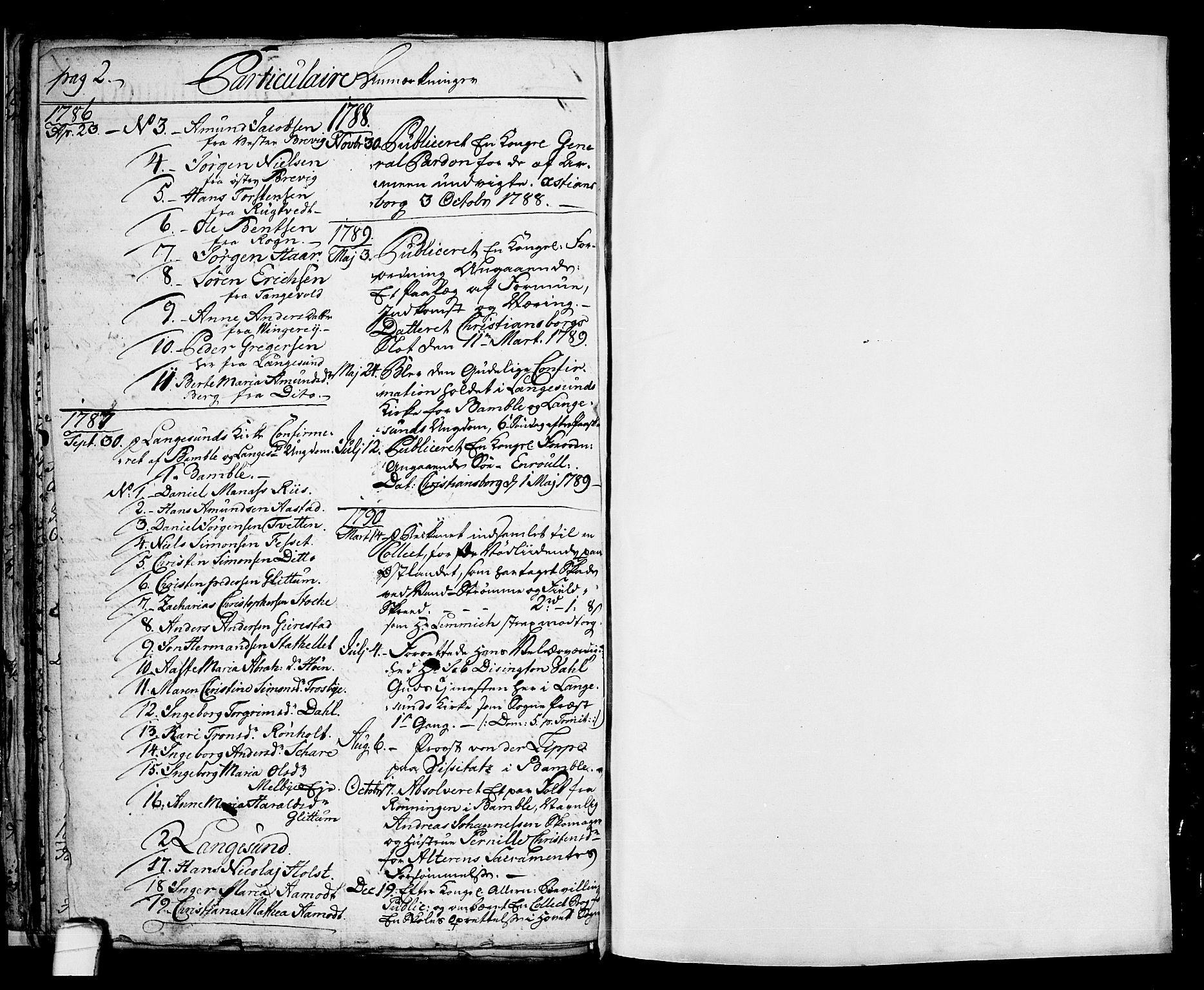 SAKO, Langesund kirkebøker, G/Ga/L0001: Klokkerbok nr. 1, 1783-1801, s. 2