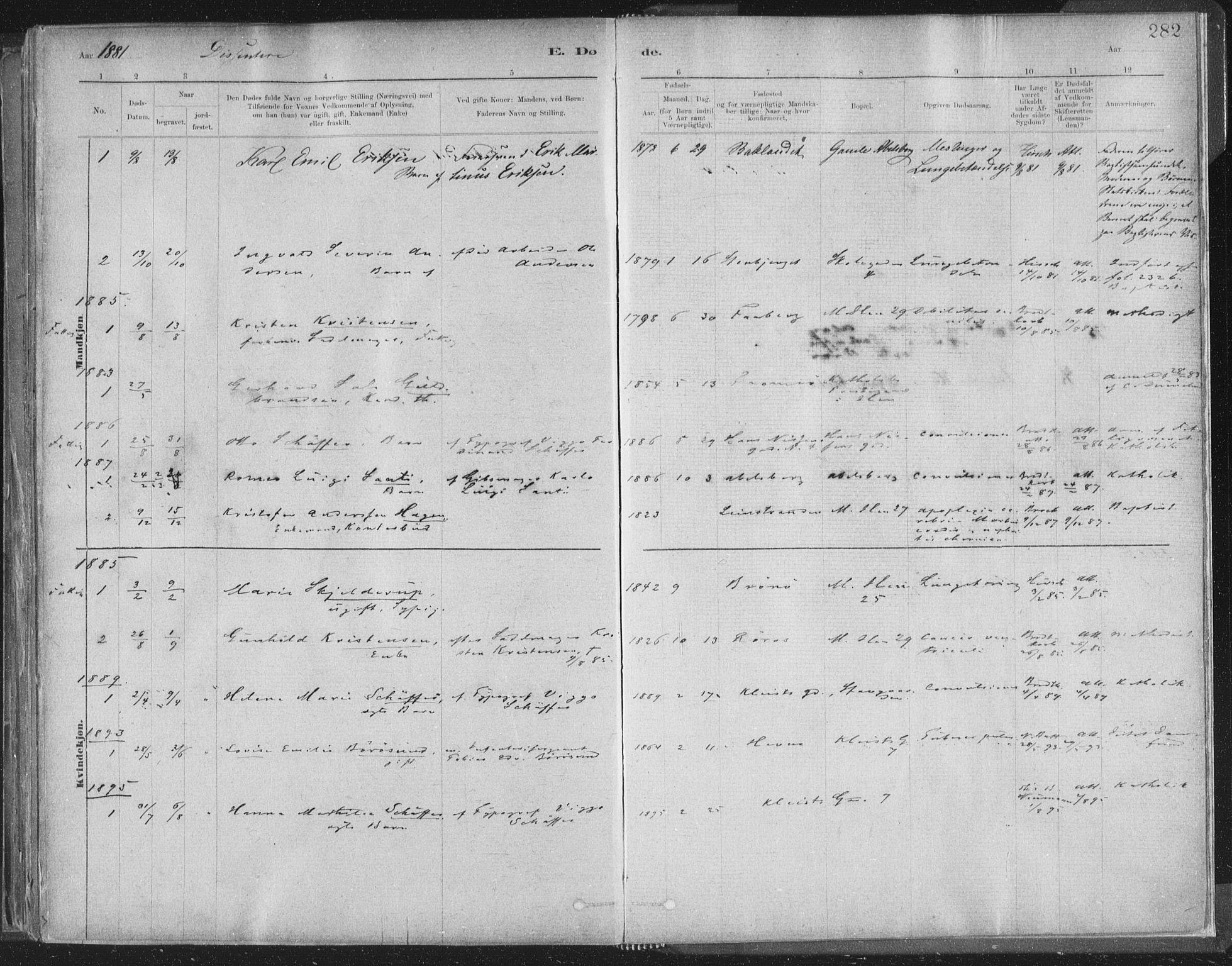 SAT, Ministerialprotokoller, klokkerbøker og fødselsregistre - Sør-Trøndelag, 603/L0162: Ministerialbok nr. 603A01, 1879-1895, s. 282