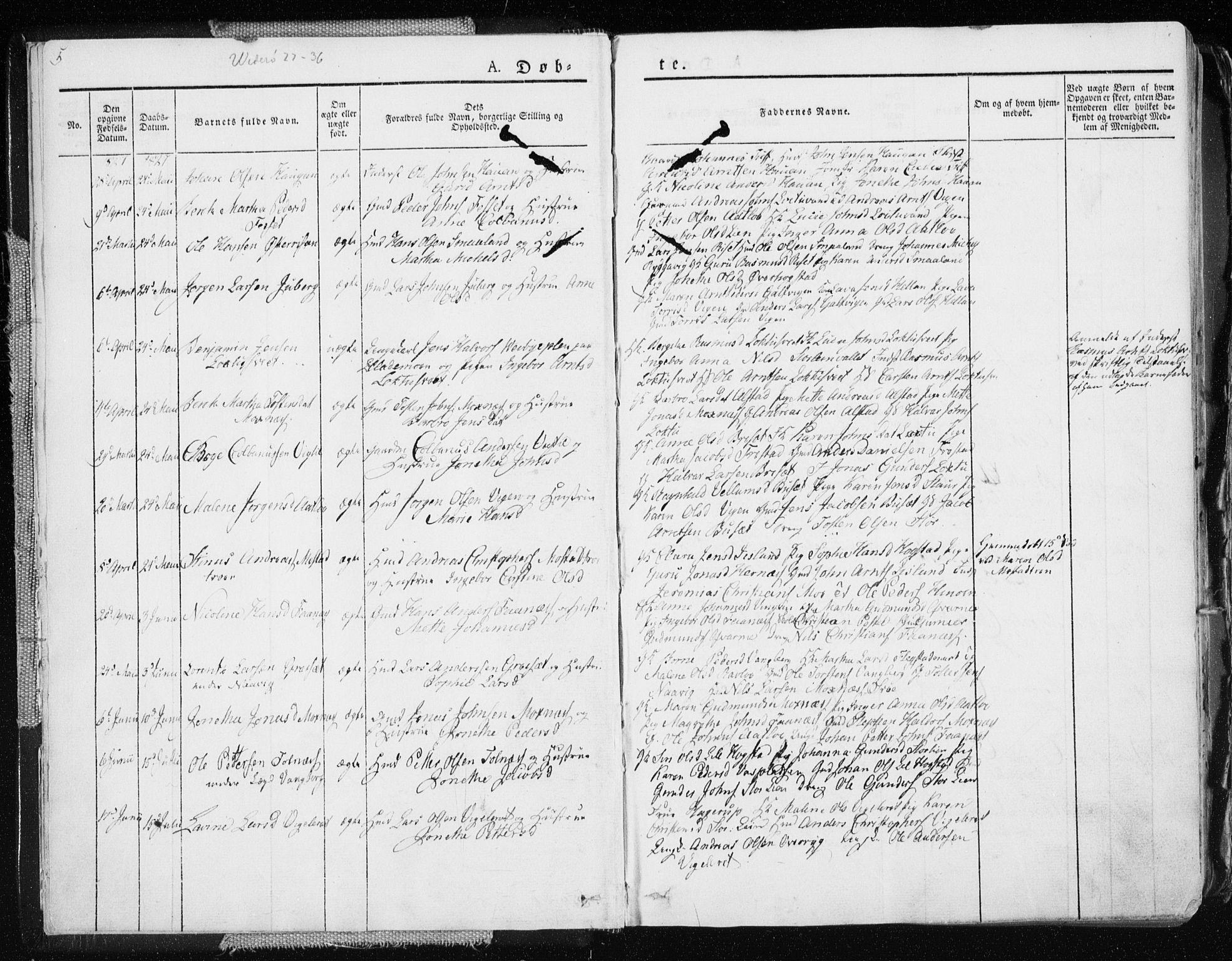 SAT, Ministerialprotokoller, klokkerbøker og fødselsregistre - Nord-Trøndelag, 713/L0114: Ministerialbok nr. 713A05, 1827-1839, s. 5