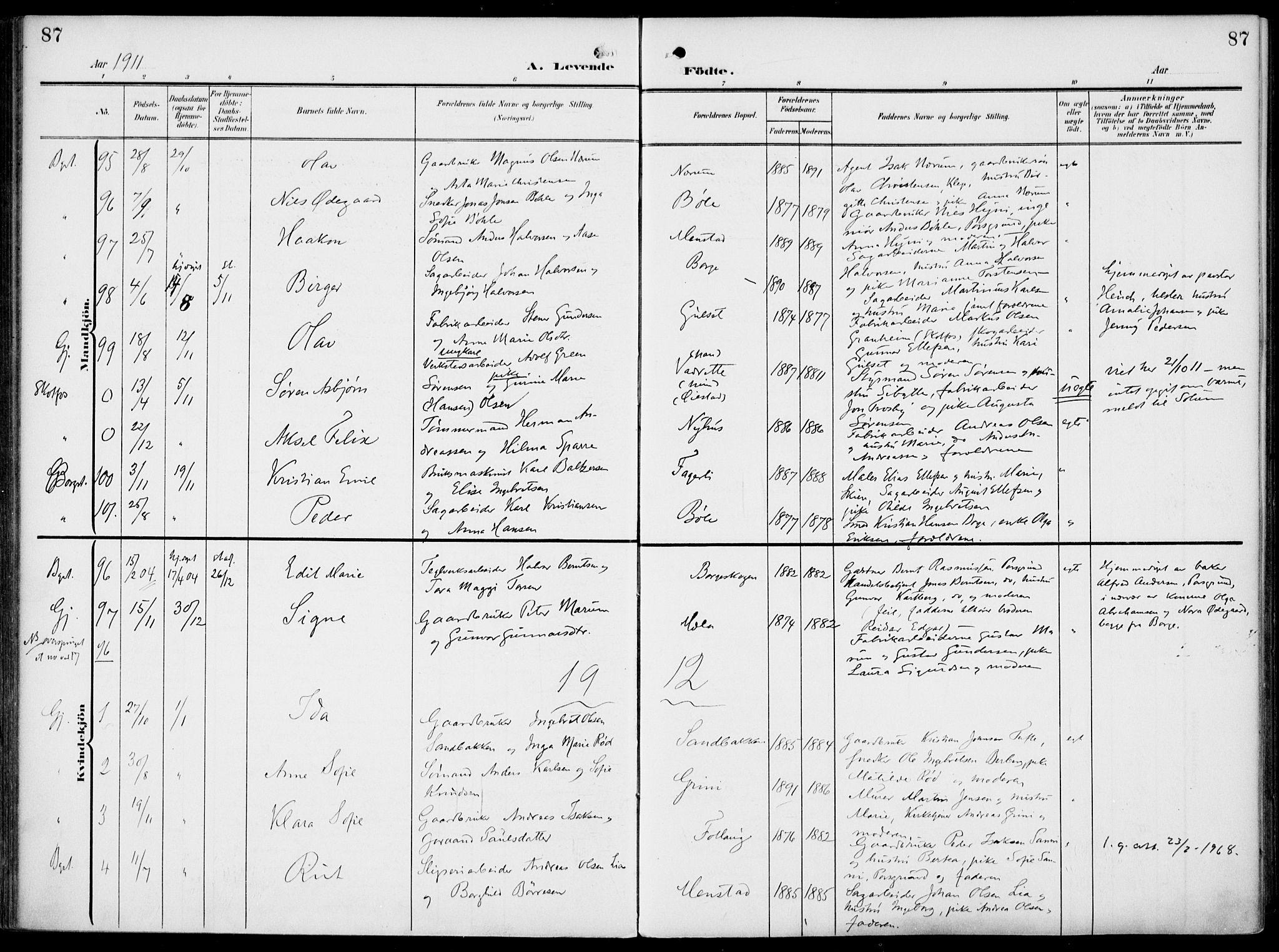 SAKO, Gjerpen kirkebøker, F/Fa/L0012: Ministerialbok nr. 12, 1905-1913, s. 87