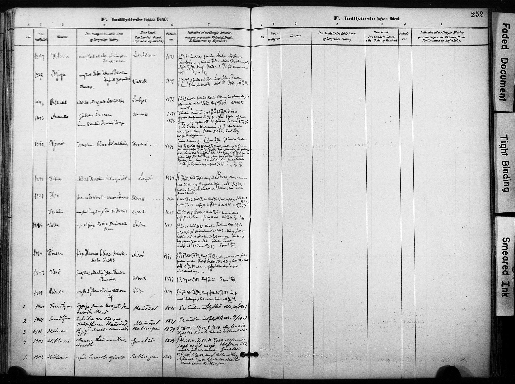 SAT, Ministerialprotokoller, klokkerbøker og fødselsregistre - Sør-Trøndelag, 640/L0579: Ministerialbok nr. 640A04, 1889-1902, s. 252