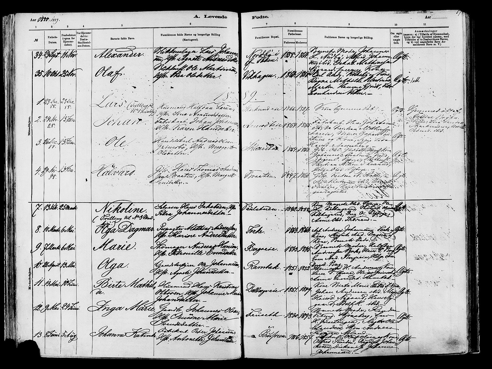 SAH, Vardal prestekontor, H/Ha/Haa/L0009: Ministerialbok nr. 9, 1878-1892, s. 57