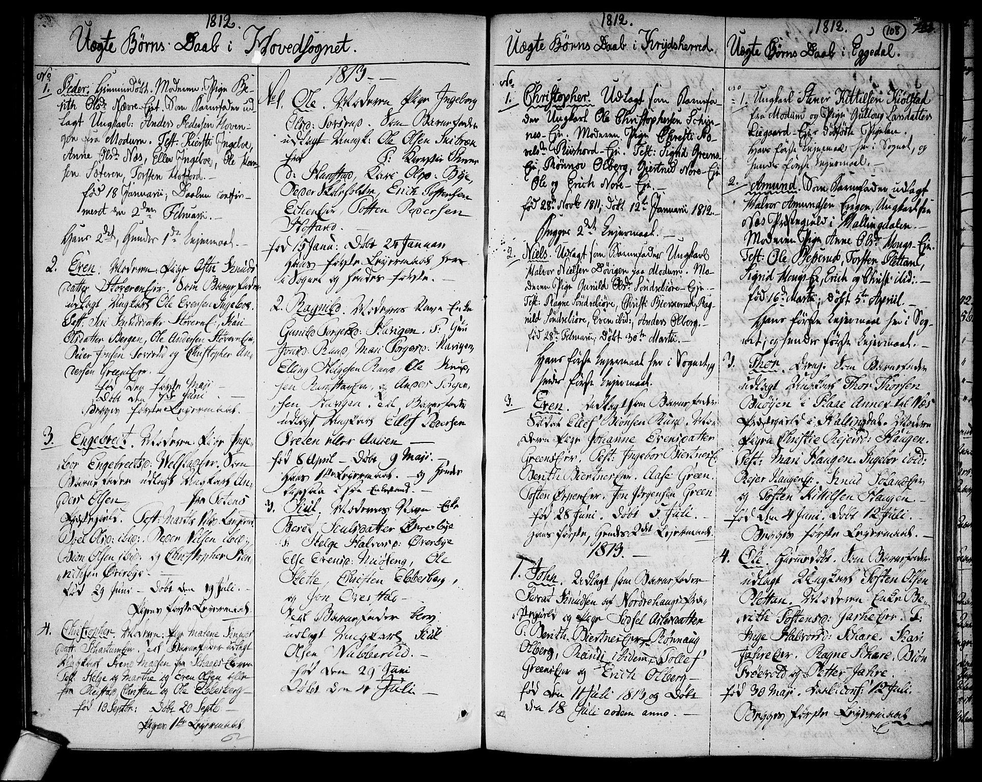 SAKO, Sigdal kirkebøker, F/Fa/L0004: Ministerialbok nr. I 4, 1812-1815, s. 108