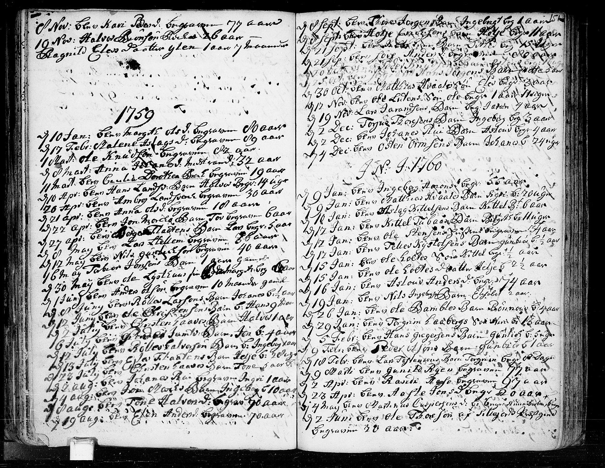 SAKO, Heddal kirkebøker, F/Fa/L0003: Ministerialbok nr. I 3, 1723-1783, s. 151