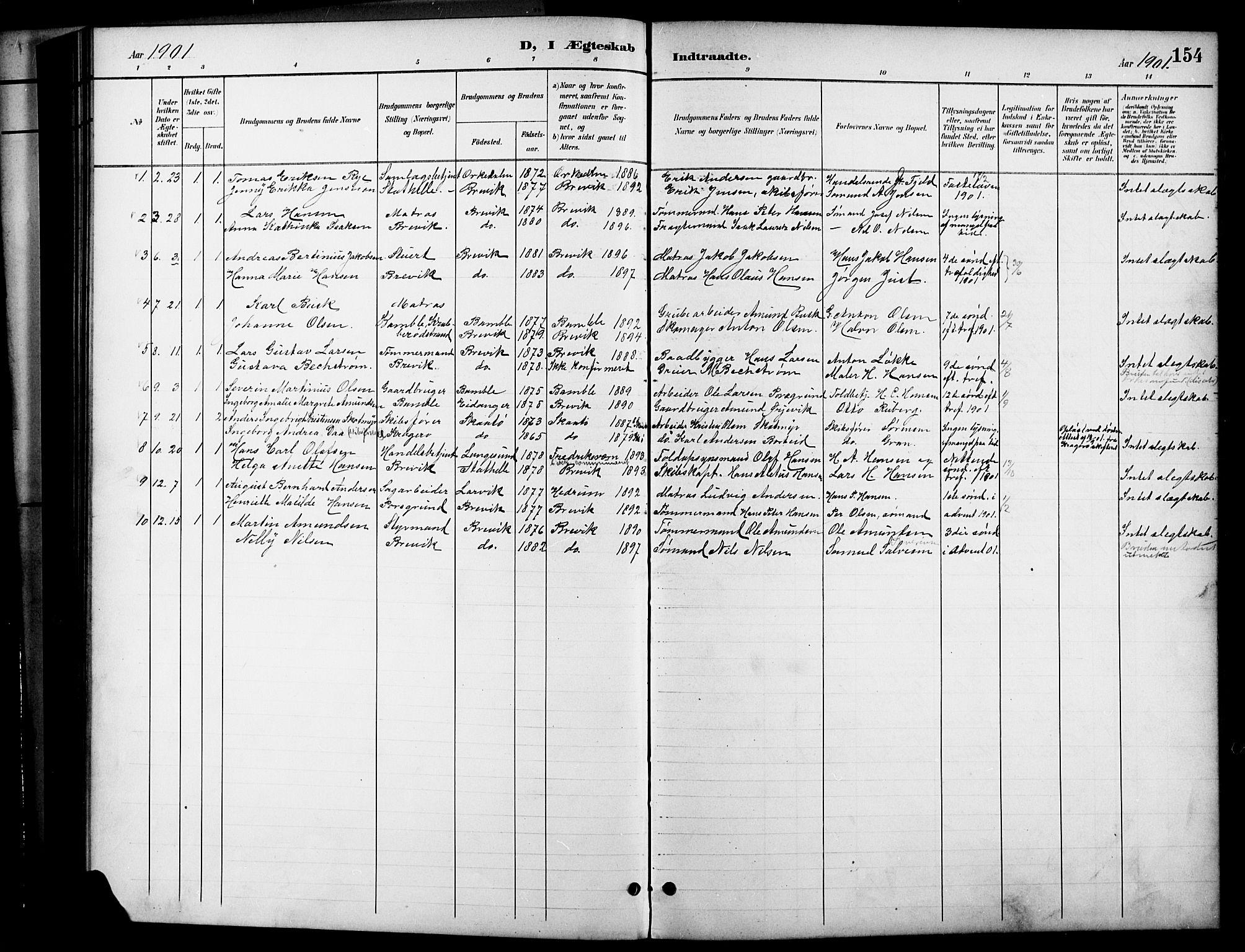 SAKO, Brevik kirkebøker, G/Ga/L0005: Klokkerbok nr. 5, 1901-1924, s. 154