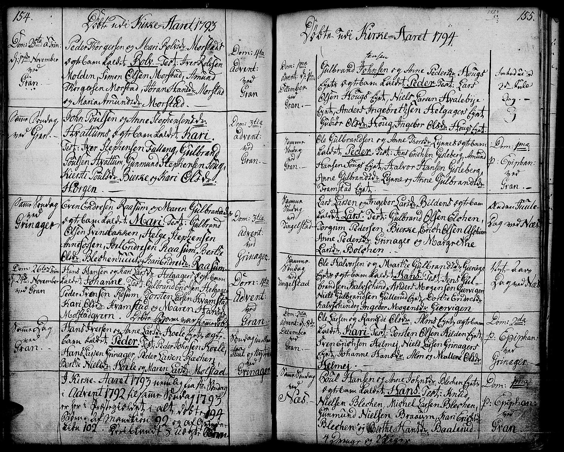 SAH, Gran prestekontor, Ministerialbok nr. 6, 1787-1824, s. 154-155
