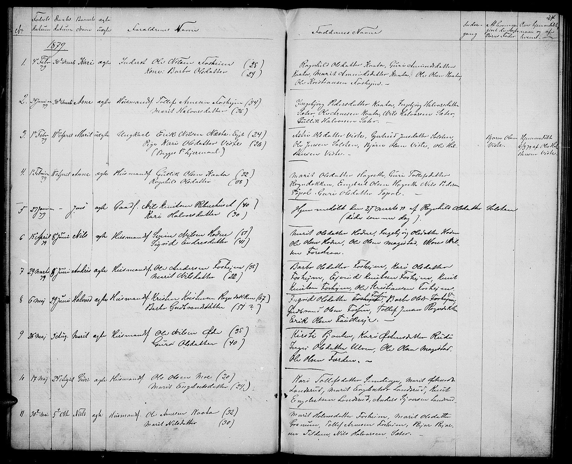SAH, Vestre Slidre prestekontor, Klokkerbok nr. 3, 1869-1882, s. 24