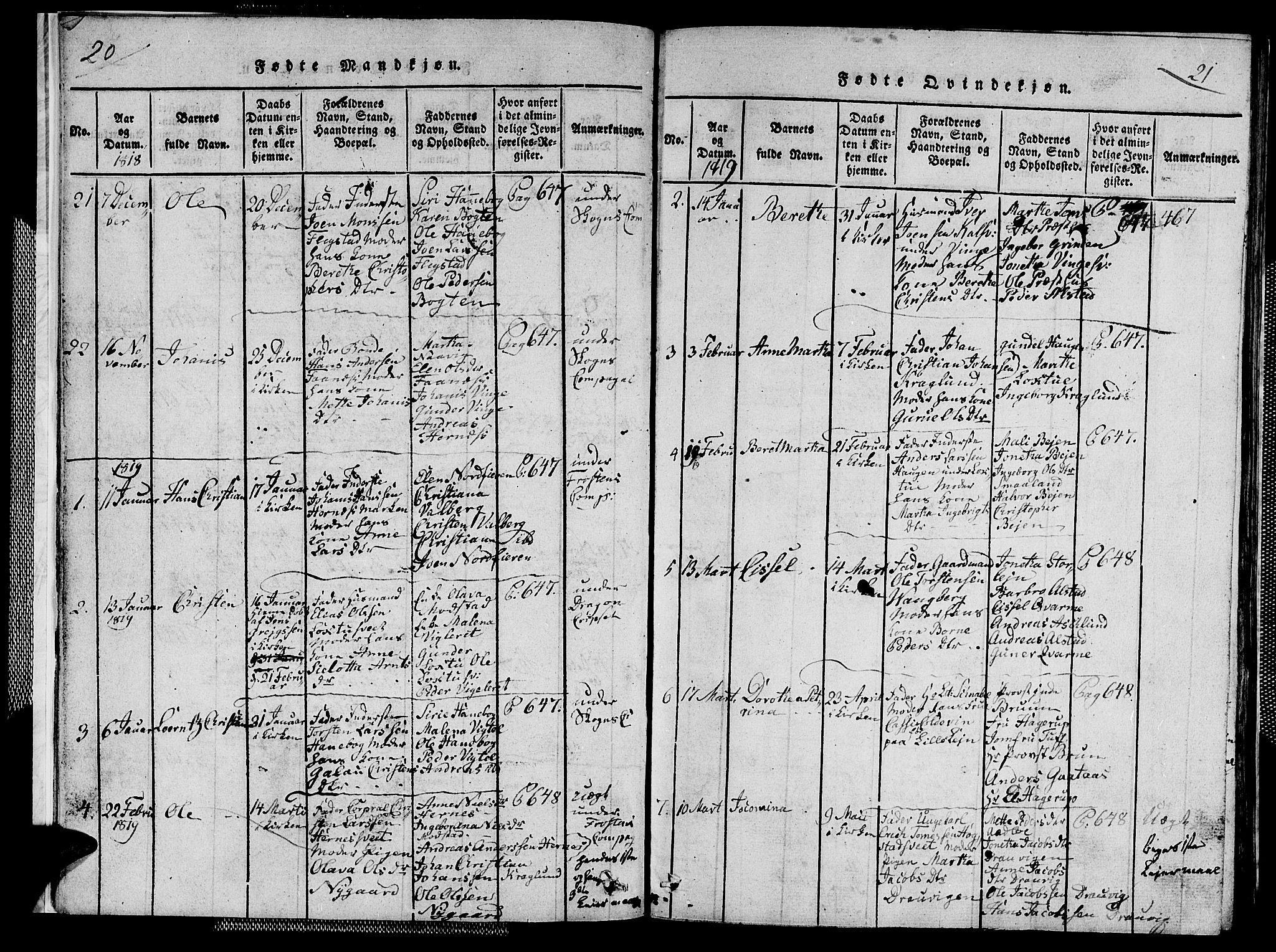 SAT, Ministerialprotokoller, klokkerbøker og fødselsregistre - Nord-Trøndelag, 713/L0124: Klokkerbok nr. 713C01, 1817-1827, s. 20-21