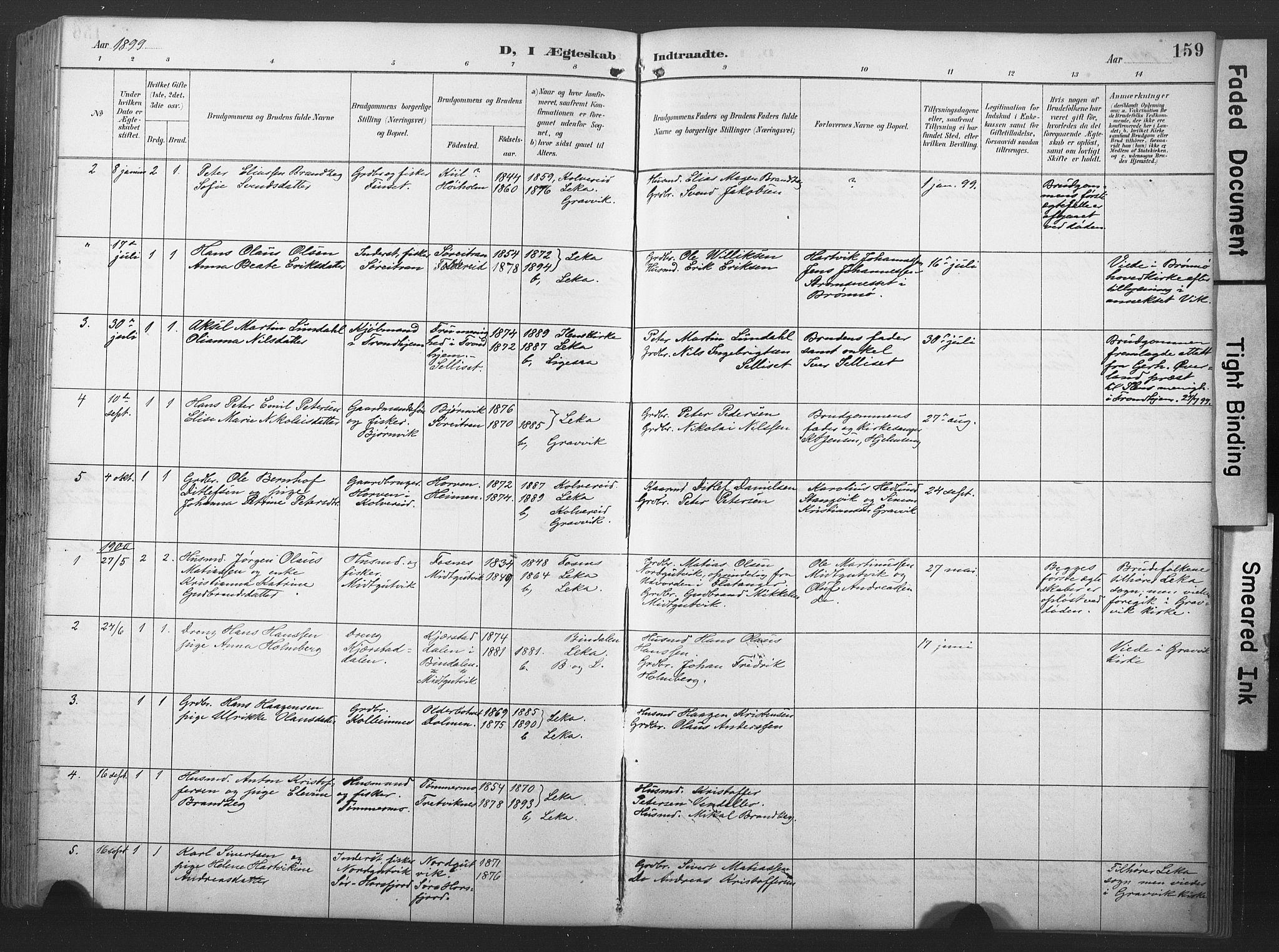SAT, Ministerialprotokoller, klokkerbøker og fødselsregistre - Nord-Trøndelag, 789/L0706: Klokkerbok nr. 789C01, 1888-1931, s. 159