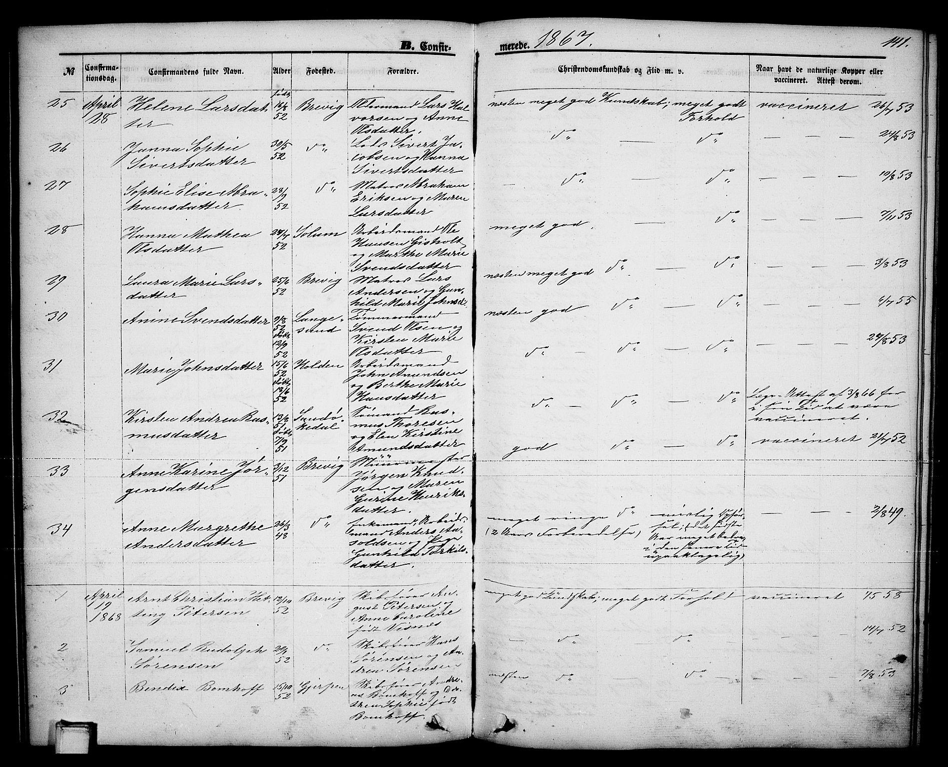 SAKO, Brevik kirkebøker, G/Ga/L0003: Klokkerbok nr. 3, 1866-1881, s. 141