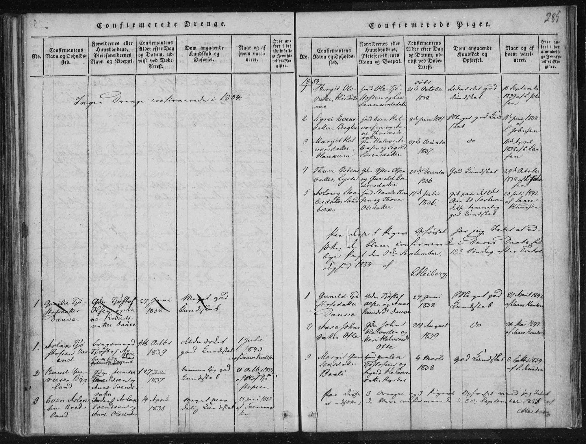 SAKO, Lårdal kirkebøker, F/Fc/L0001: Ministerialbok nr. III 1, 1815-1860, s. 285