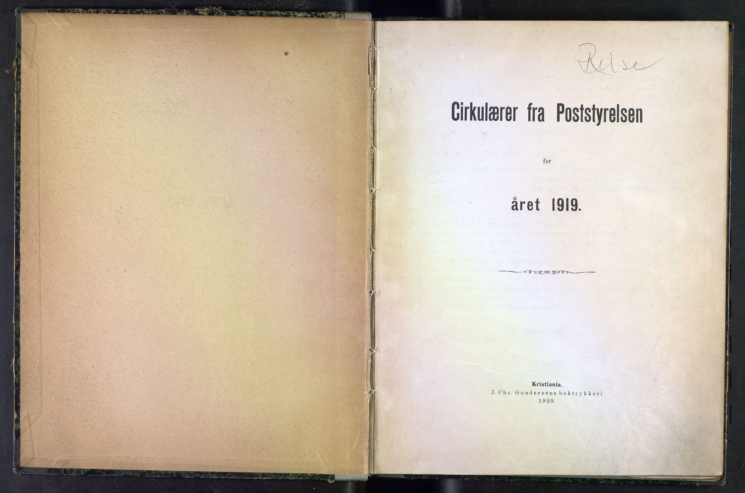NOPO, Norges Postmuseums bibliotek, -/-: Sirkulærer fra Poststyrelsen, 1919