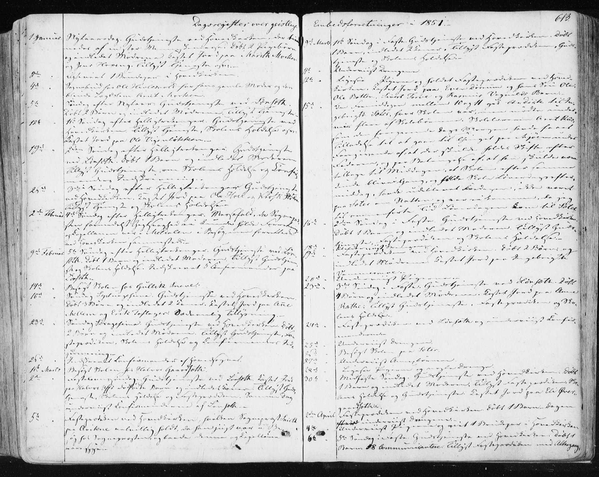 SAT, Ministerialprotokoller, klokkerbøker og fødselsregistre - Sør-Trøndelag, 678/L0899: Ministerialbok nr. 678A08, 1848-1872, s. 613