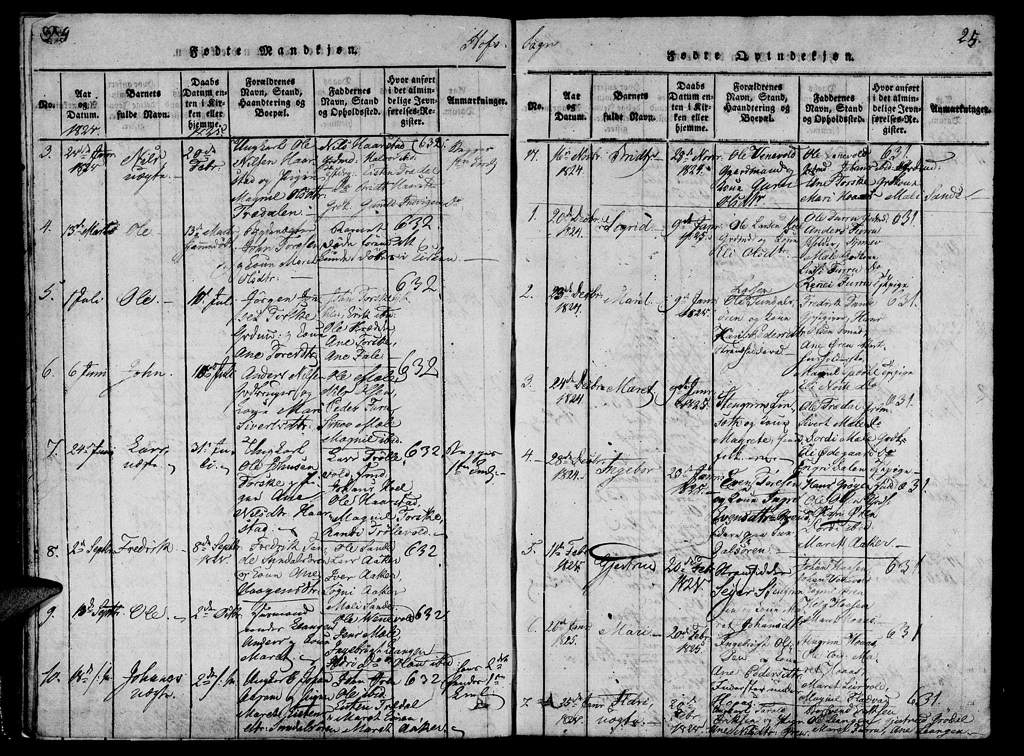 SAT, Ministerialprotokoller, klokkerbøker og fødselsregistre - Møre og Romsdal, 590/L1009: Ministerialbok nr. 590A03 /1, 1819-1832, s. 24-25