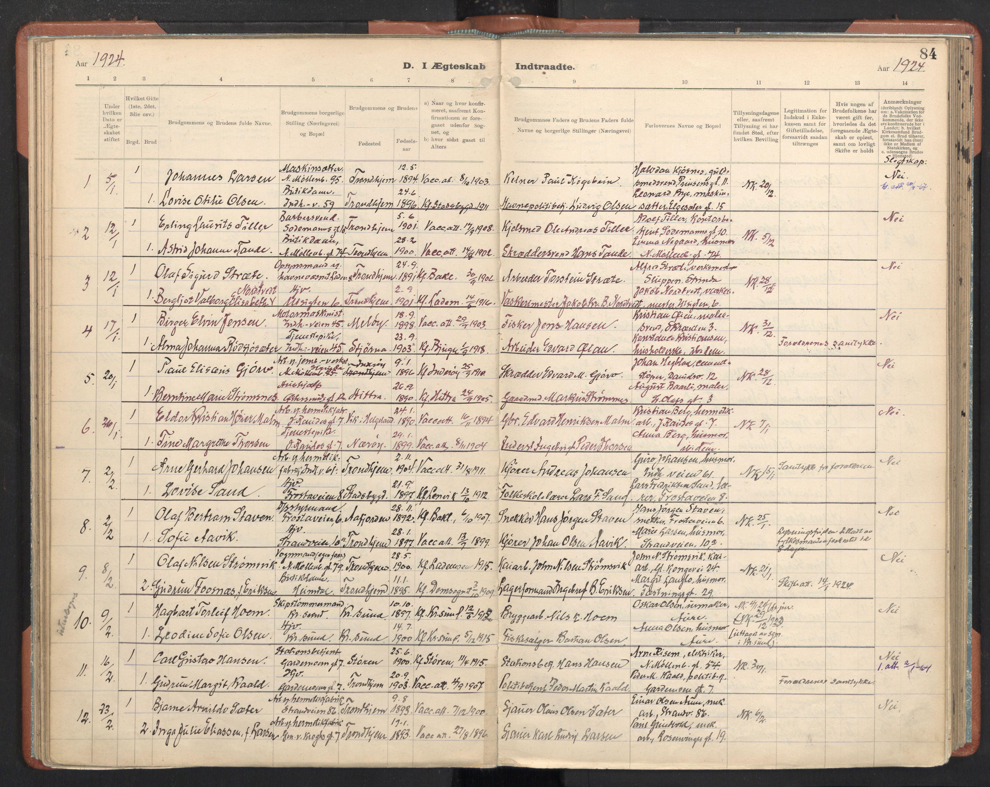 SAT, Ministerialprotokoller, klokkerbøker og fødselsregistre - Sør-Trøndelag, 605/L0245: Ministerialbok nr. 605A07, 1916-1938, s. 84