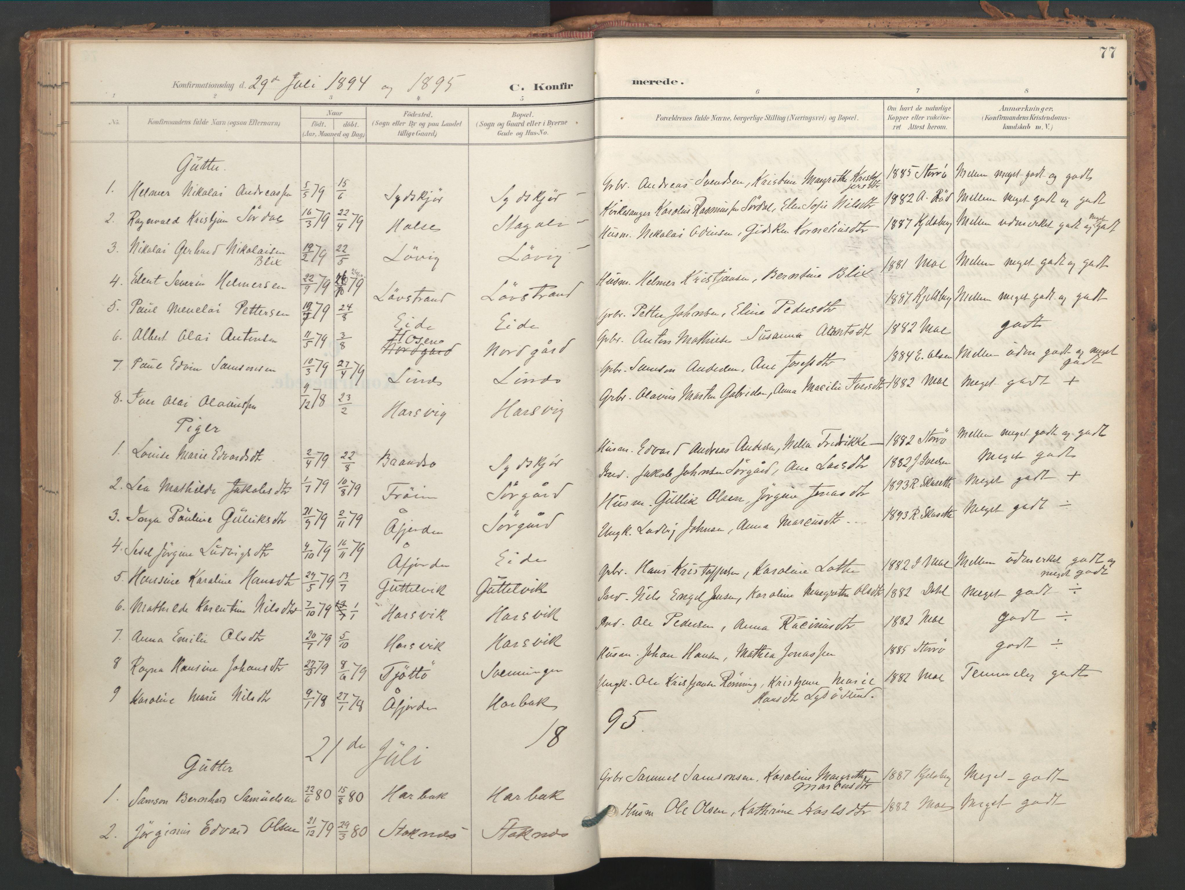 SAT, Ministerialprotokoller, klokkerbøker og fødselsregistre - Sør-Trøndelag, 656/L0693: Ministerialbok nr. 656A02, 1894-1913, s. 77