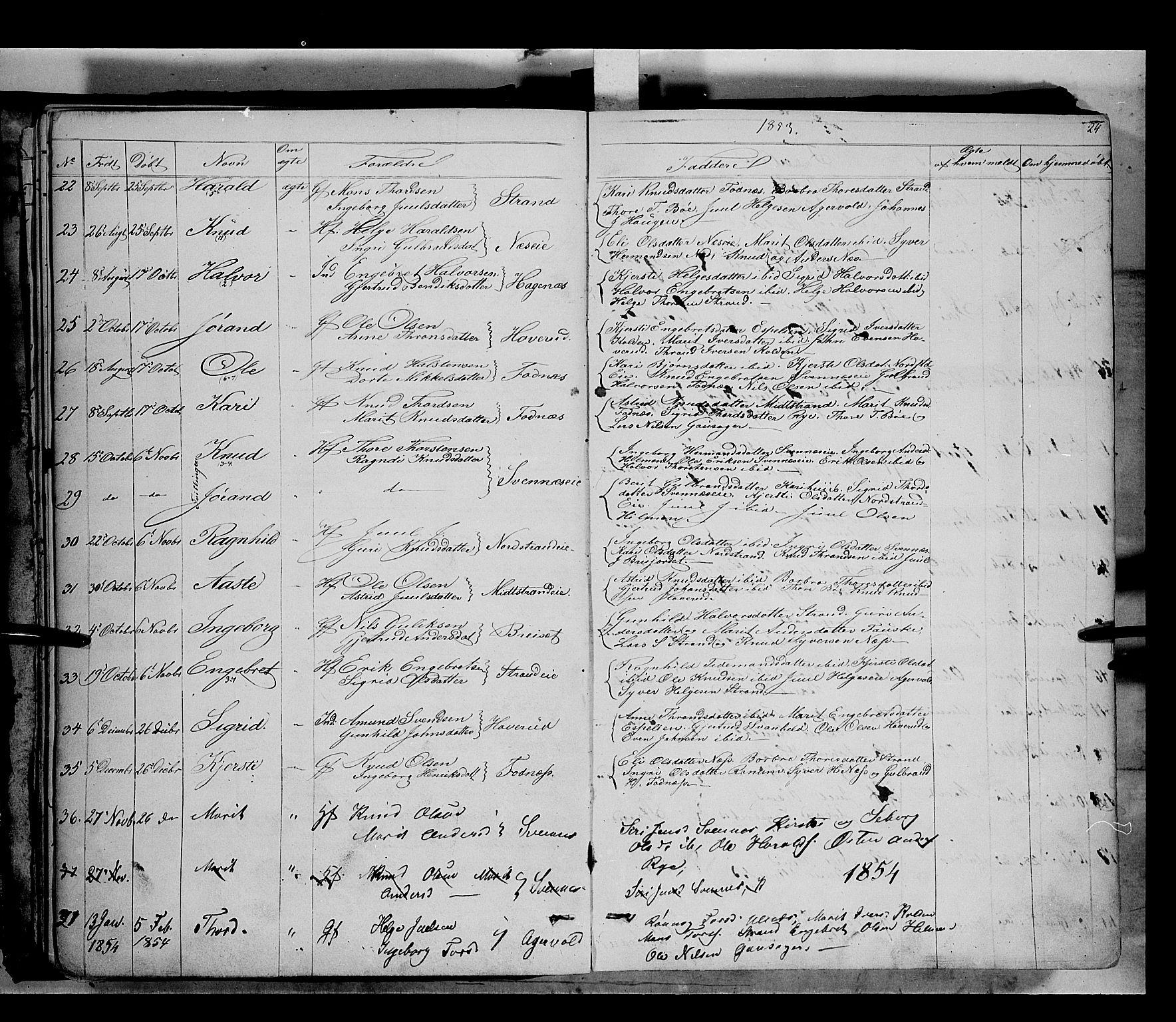 SAH, Nord-Aurdal prestekontor, Ministerialbok nr. 5, 1842-1863, s. 24