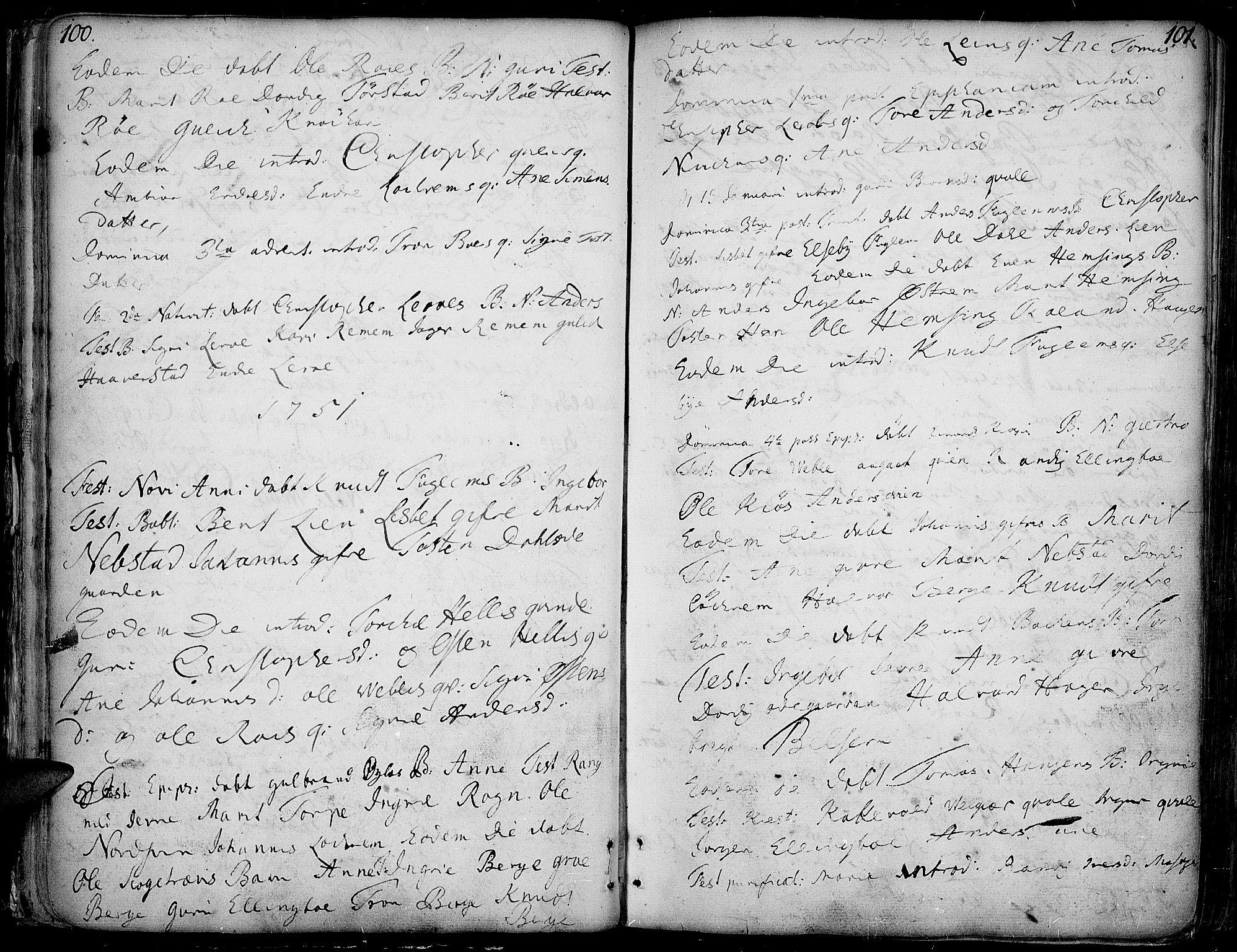 SAH, Vang prestekontor, Valdres, Ministerialbok nr. 1, 1730-1796, s. 100-101