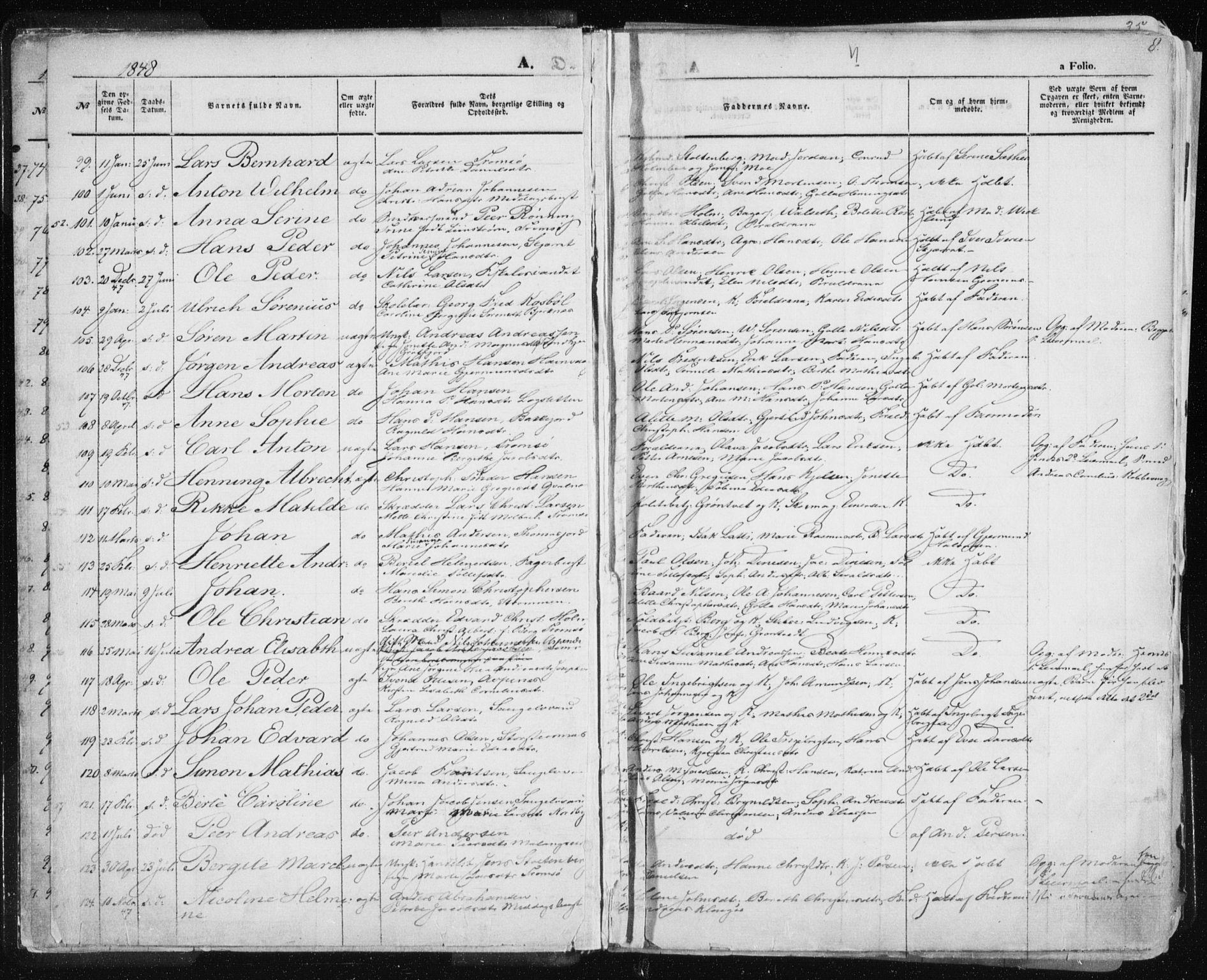 SATØ, Tromsø sokneprestkontor/stiftsprosti/domprosti, G/Ga/L0010kirke: Ministerialbok nr. 10, 1848-1855, s. 8