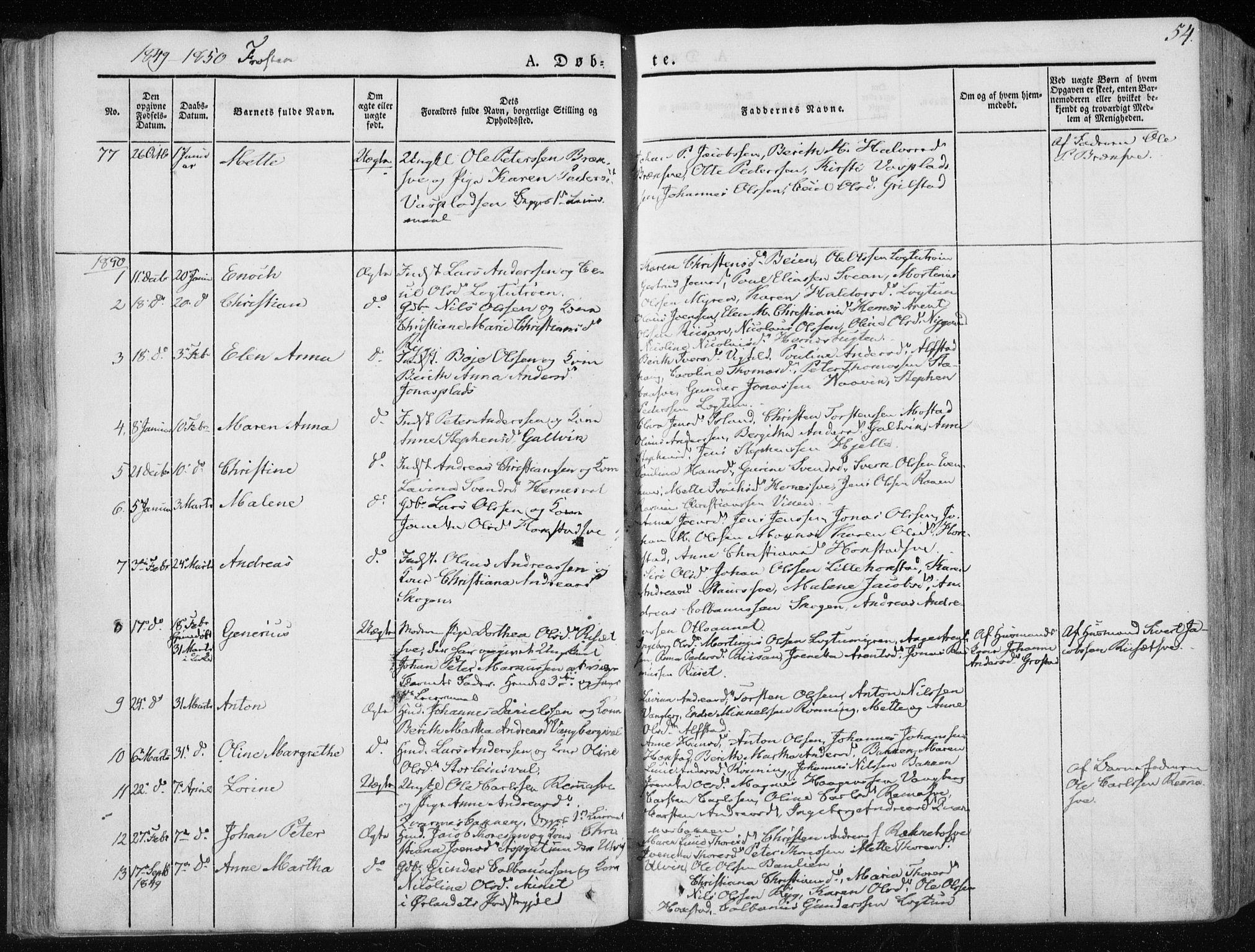 SAT, Ministerialprotokoller, klokkerbøker og fødselsregistre - Nord-Trøndelag, 713/L0115: Ministerialbok nr. 713A06, 1838-1851, s. 54