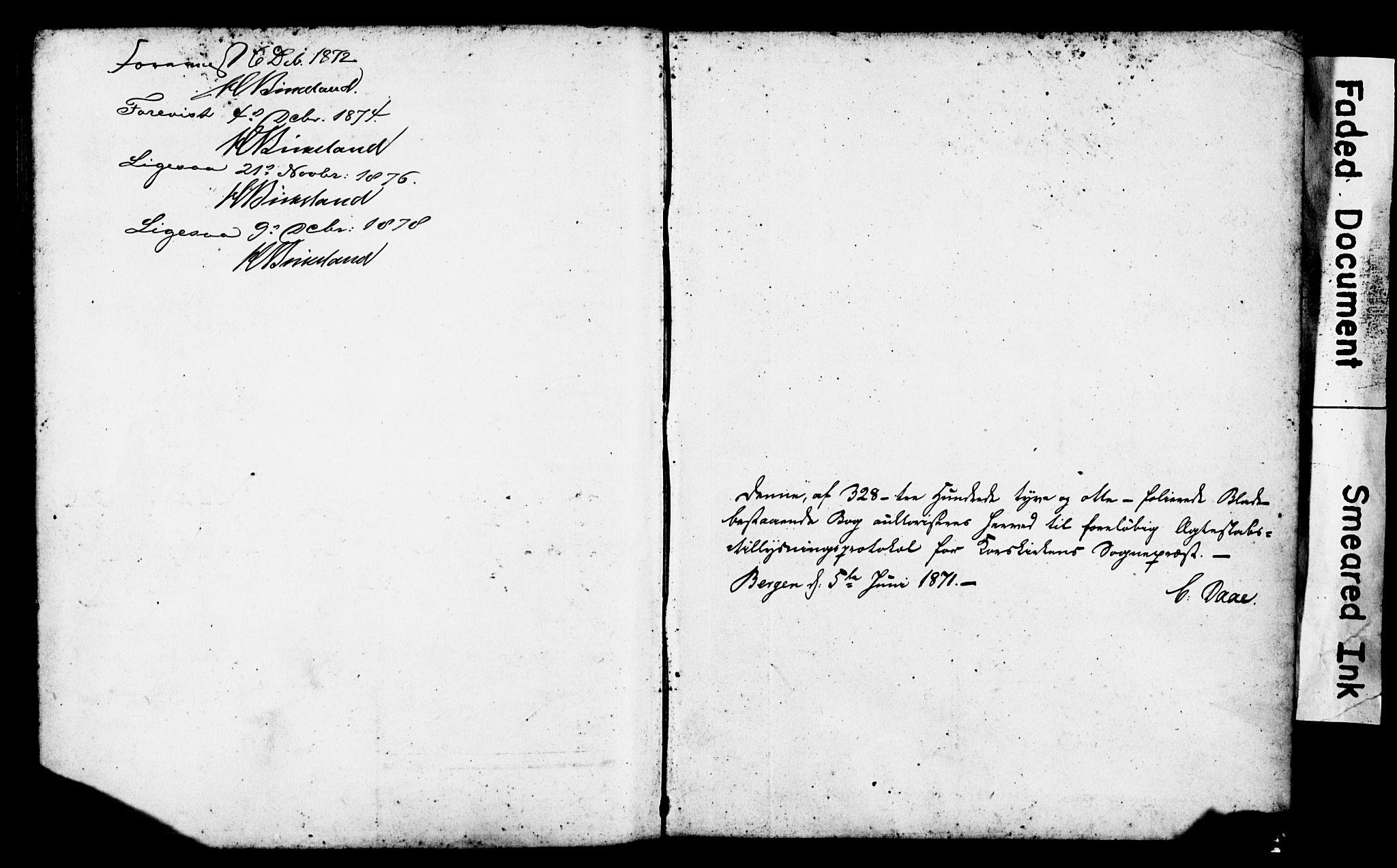 SAB, Korskirken Sokneprestembete, Forlovererklæringer nr. II.5.4, 1871-1878