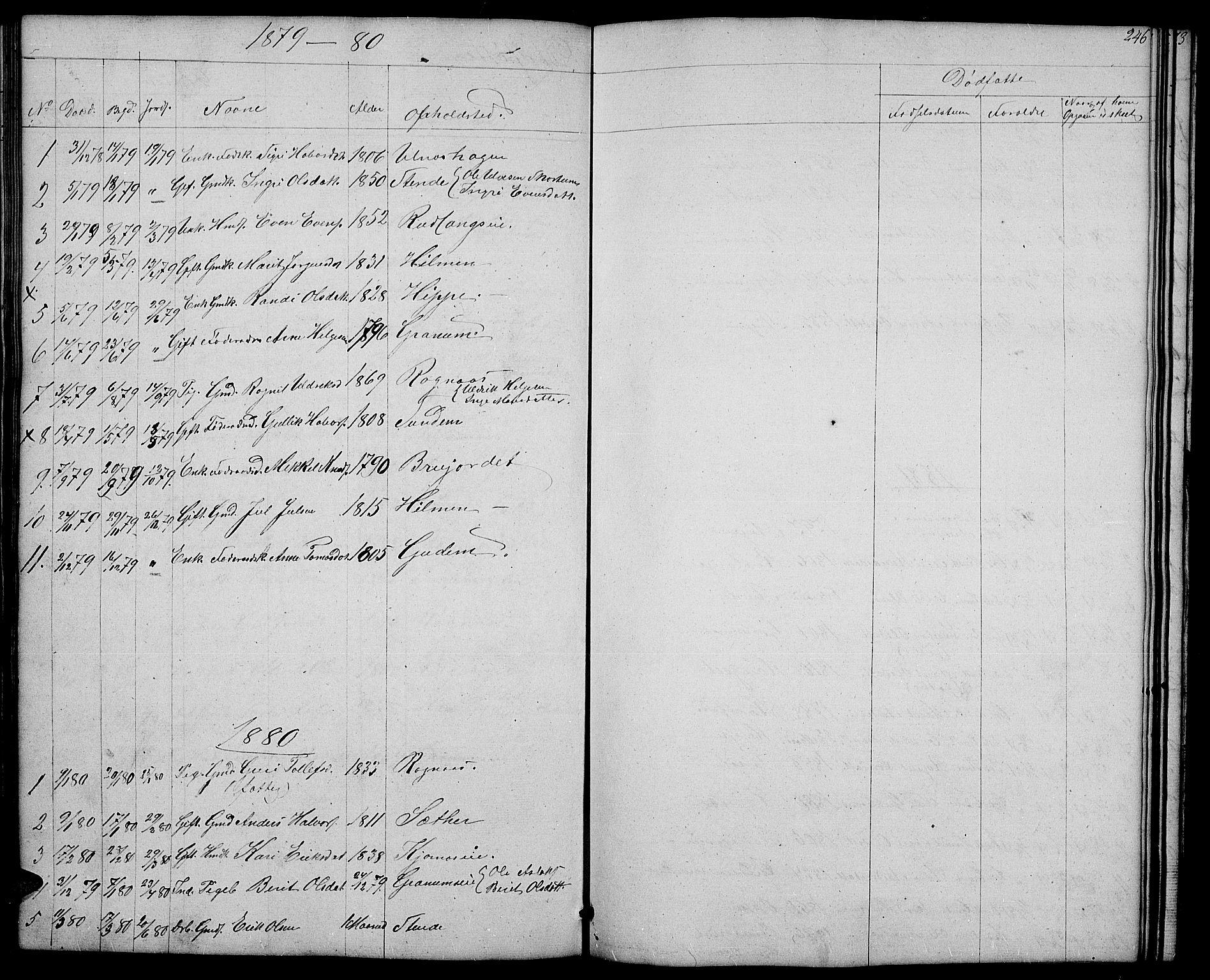 SAH, Nord-Aurdal prestekontor, Klokkerbok nr. 4, 1842-1882, s. 246