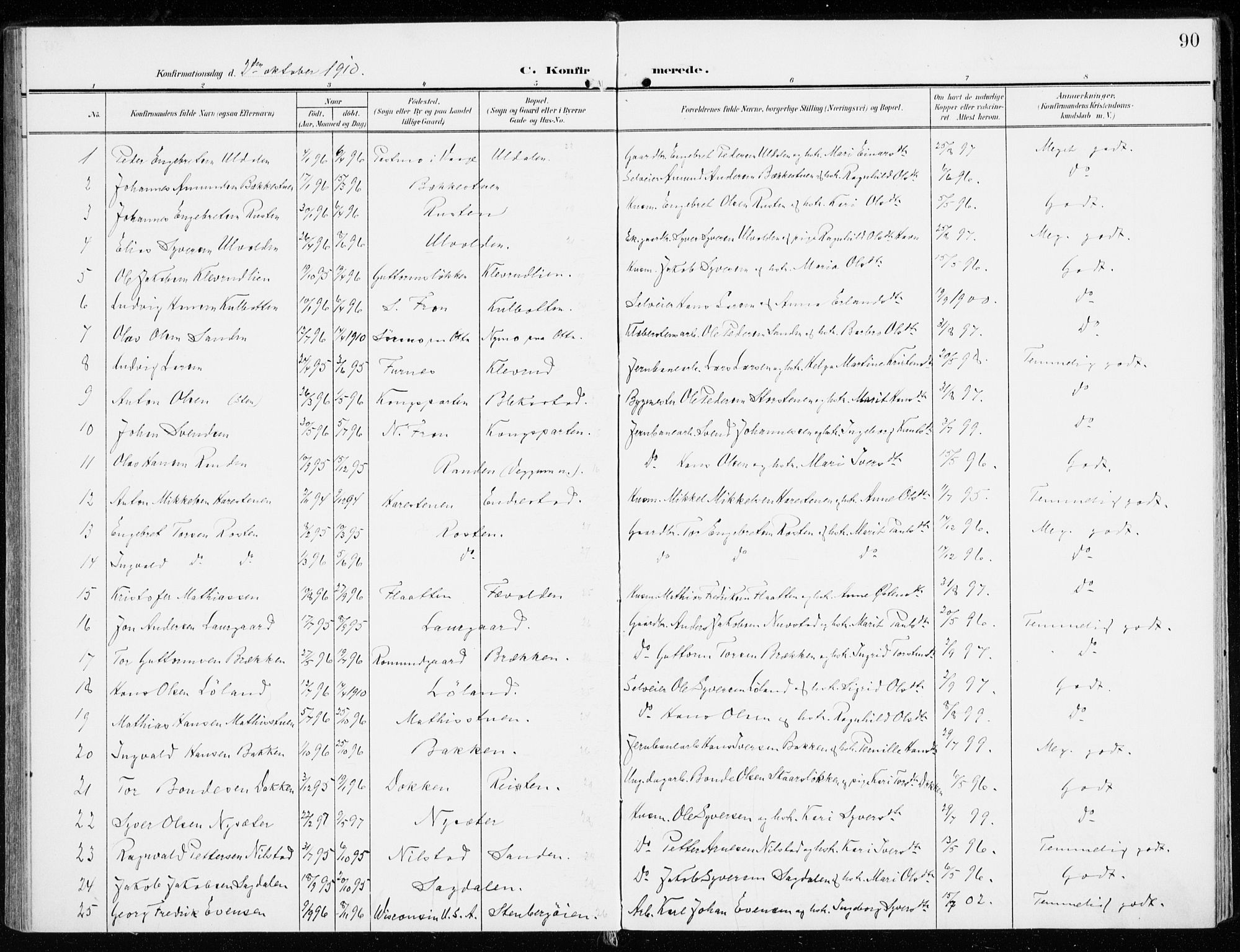 SAH, Sel prestekontor, Ministerialbok nr. 2, 1905-1919, s. 90