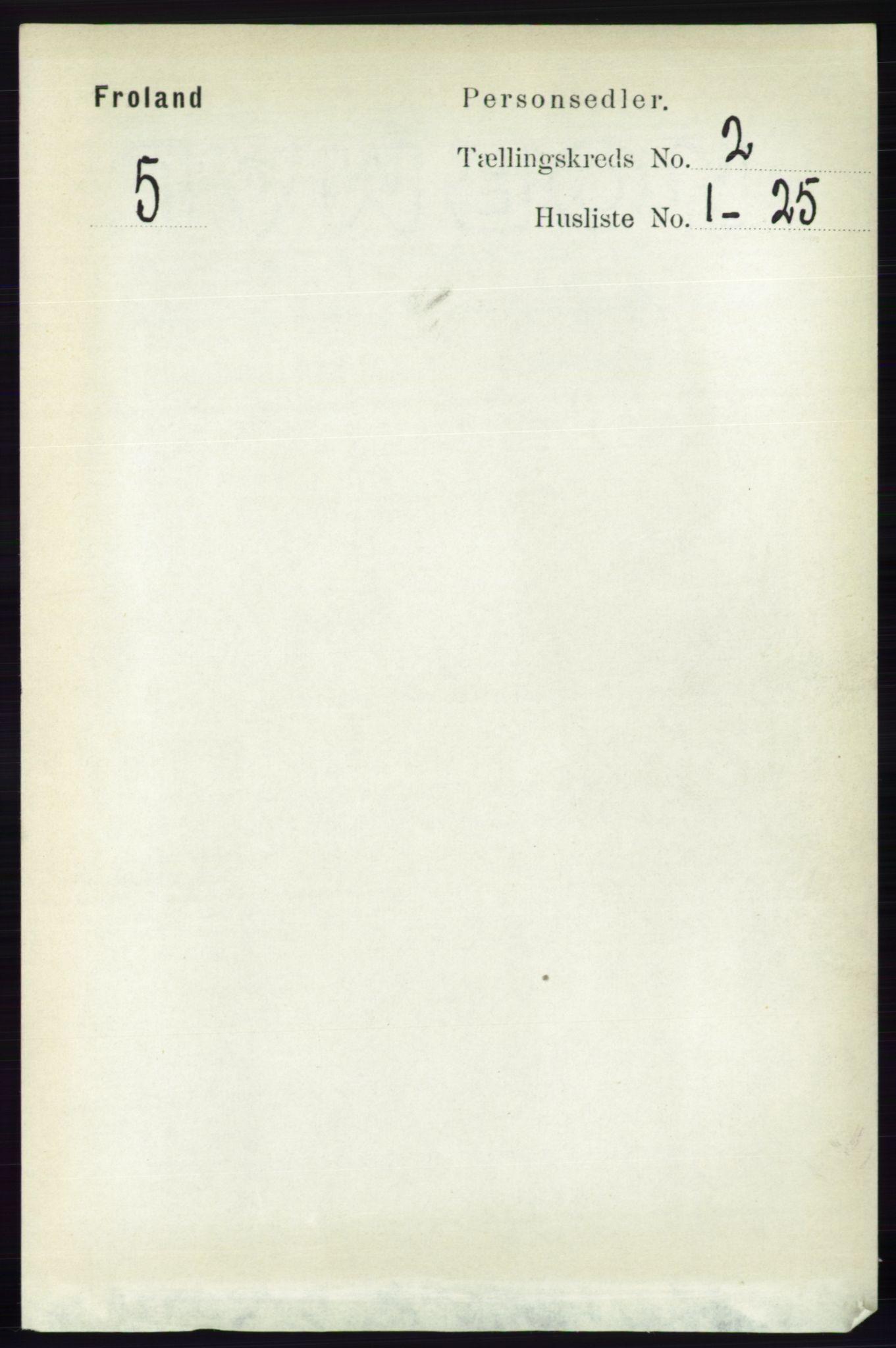 RA, Folketelling 1891 for 0919 Froland herred, 1891, s. 477