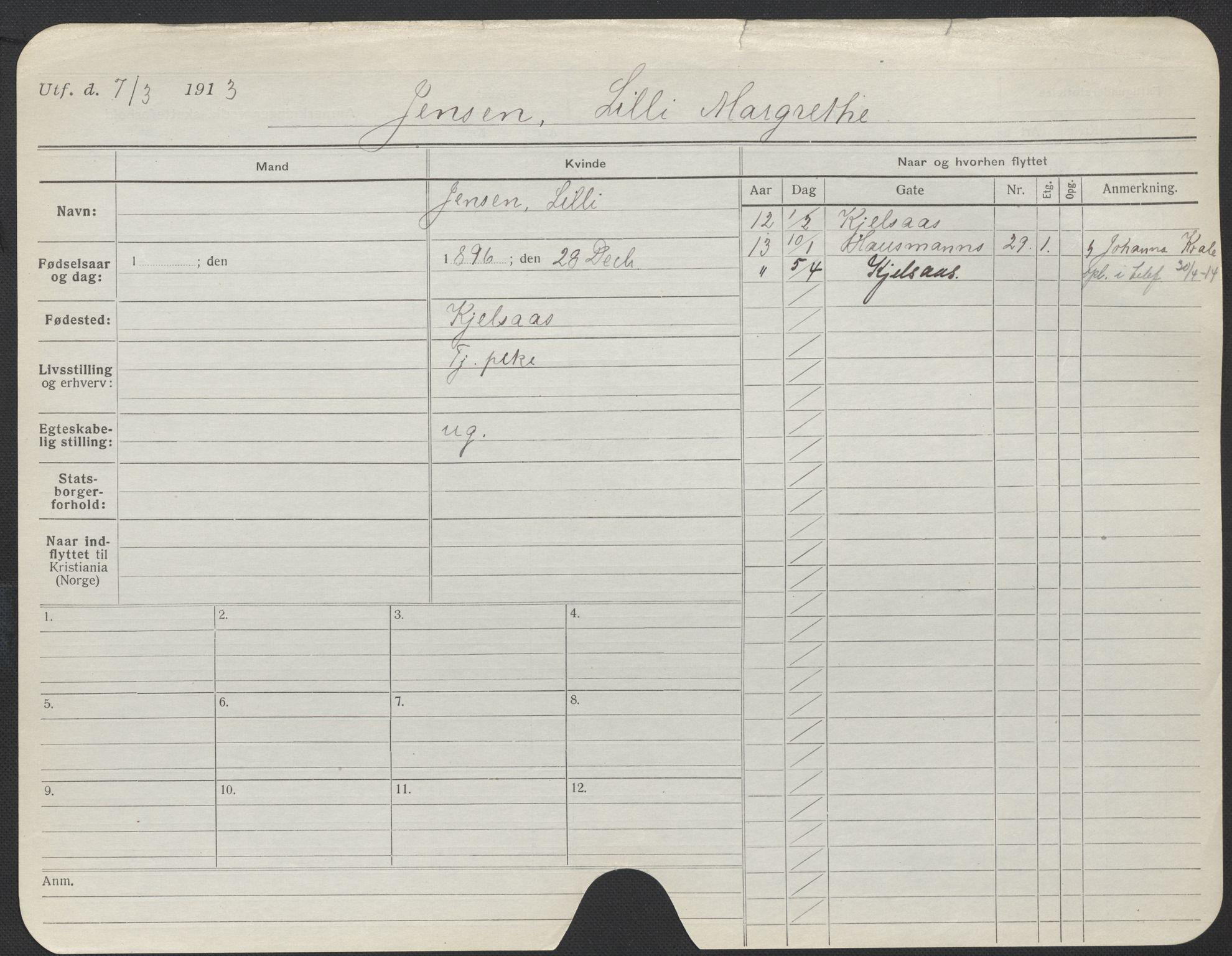 SAO, Oslo folkeregister, Registerkort, F/Fa/Fac/L0017: Kvinner, 1906-1914, s. 476a