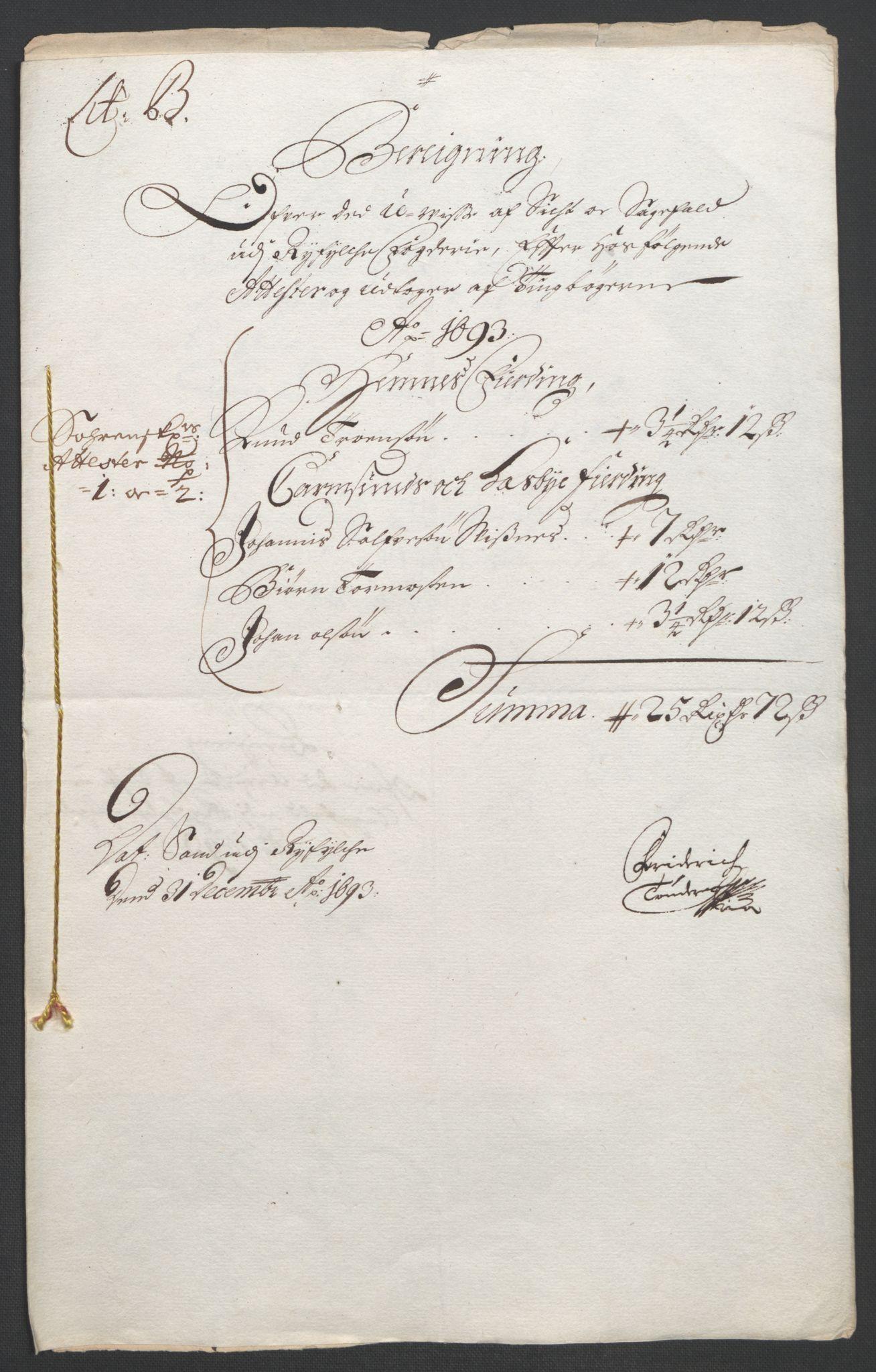 RA, Rentekammeret inntil 1814, Reviderte regnskaper, Fogderegnskap, R47/L2856: Fogderegnskap Ryfylke, 1689-1693, s. 605