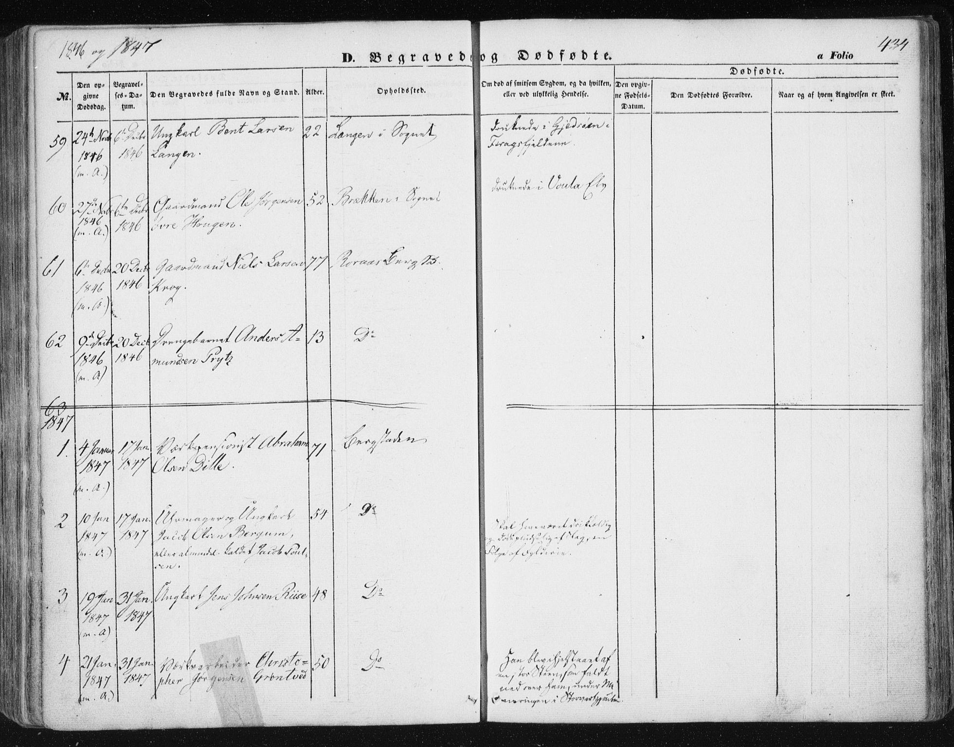 SAT, Ministerialprotokoller, klokkerbøker og fødselsregistre - Sør-Trøndelag, 681/L0931: Ministerialbok nr. 681A09, 1845-1859, s. 434