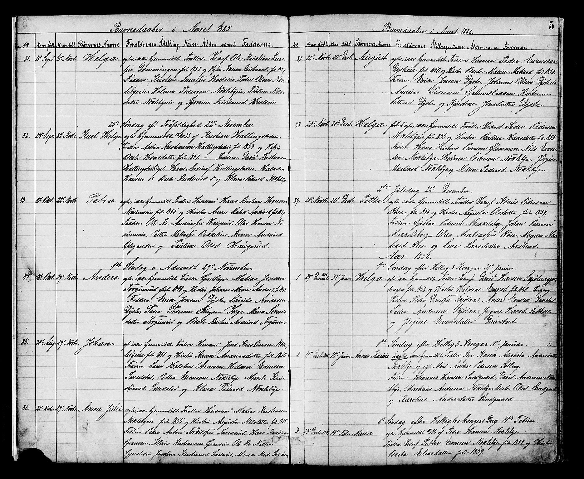 SAH, Vestre Toten prestekontor, Klokkerbok nr. 8, 1885-1900, s. 5