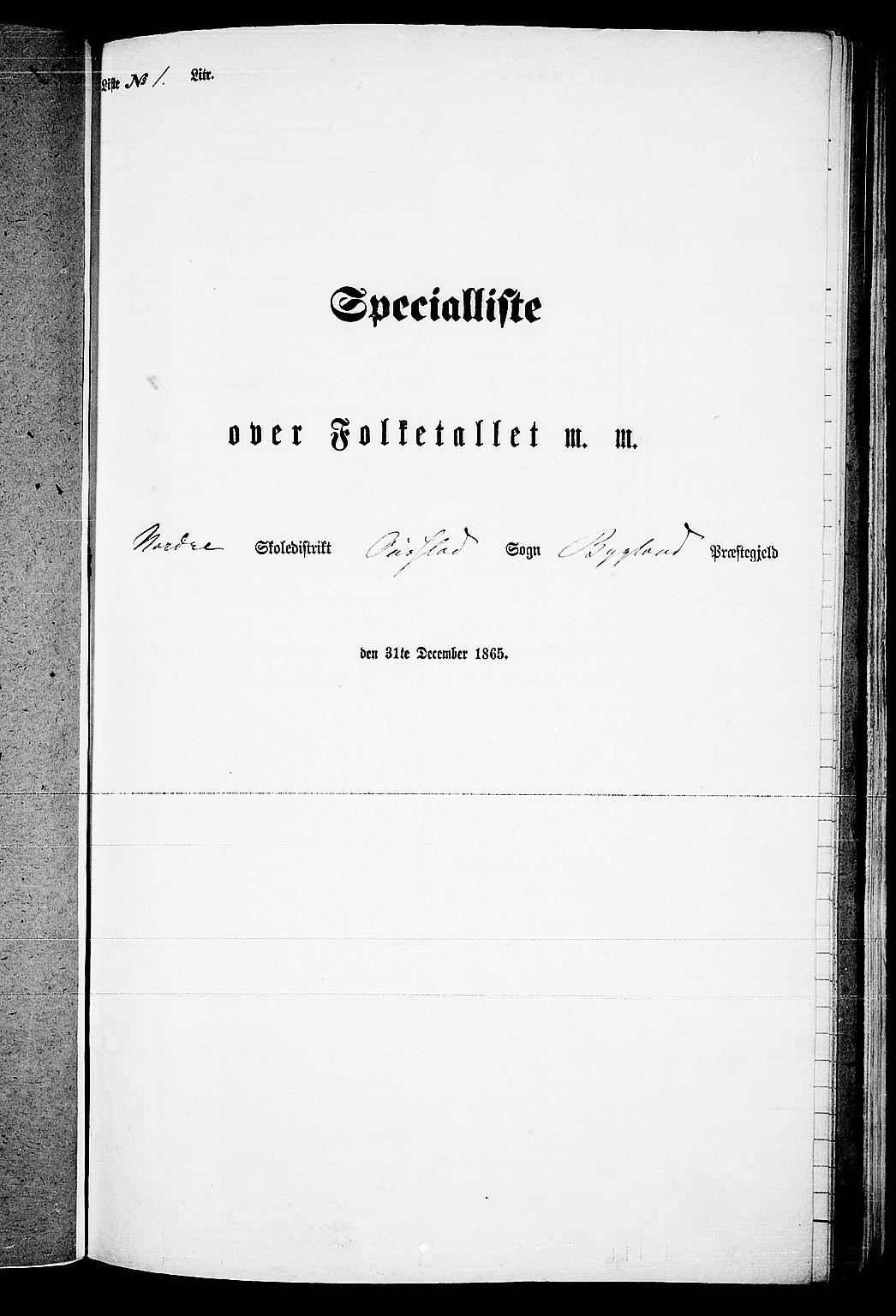 RA, Folketelling 1865 for 0938P Bygland prestegjeld, 1865, s. 5