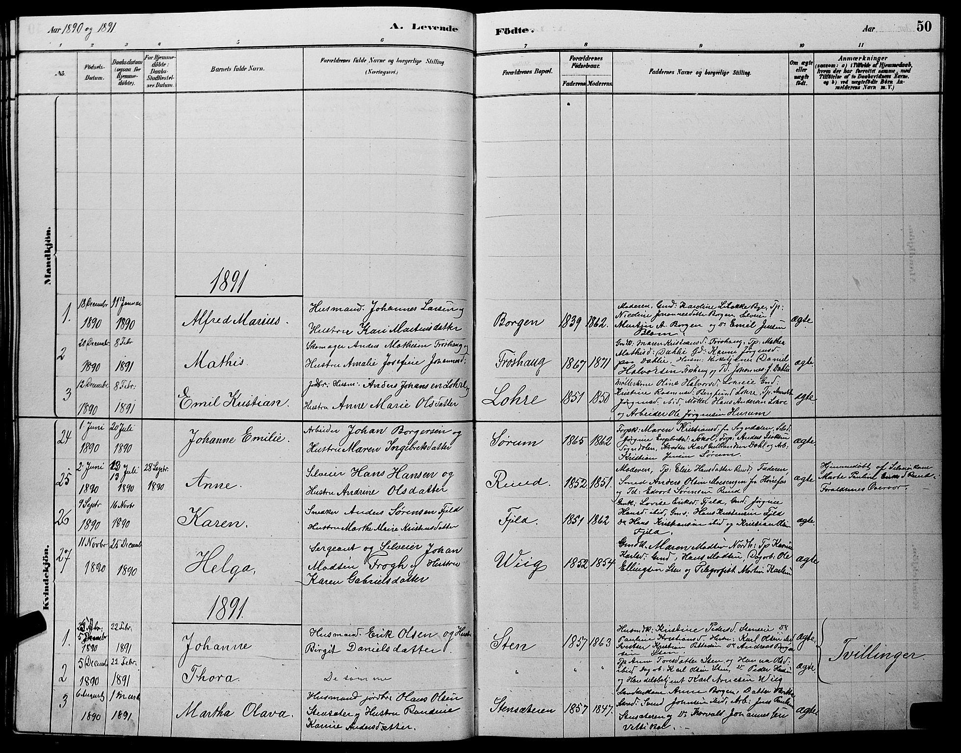 SAKO, Hole kirkebøker, G/Ga/L0003: Klokkerbok nr. I 3, 1879-1904, s. 50