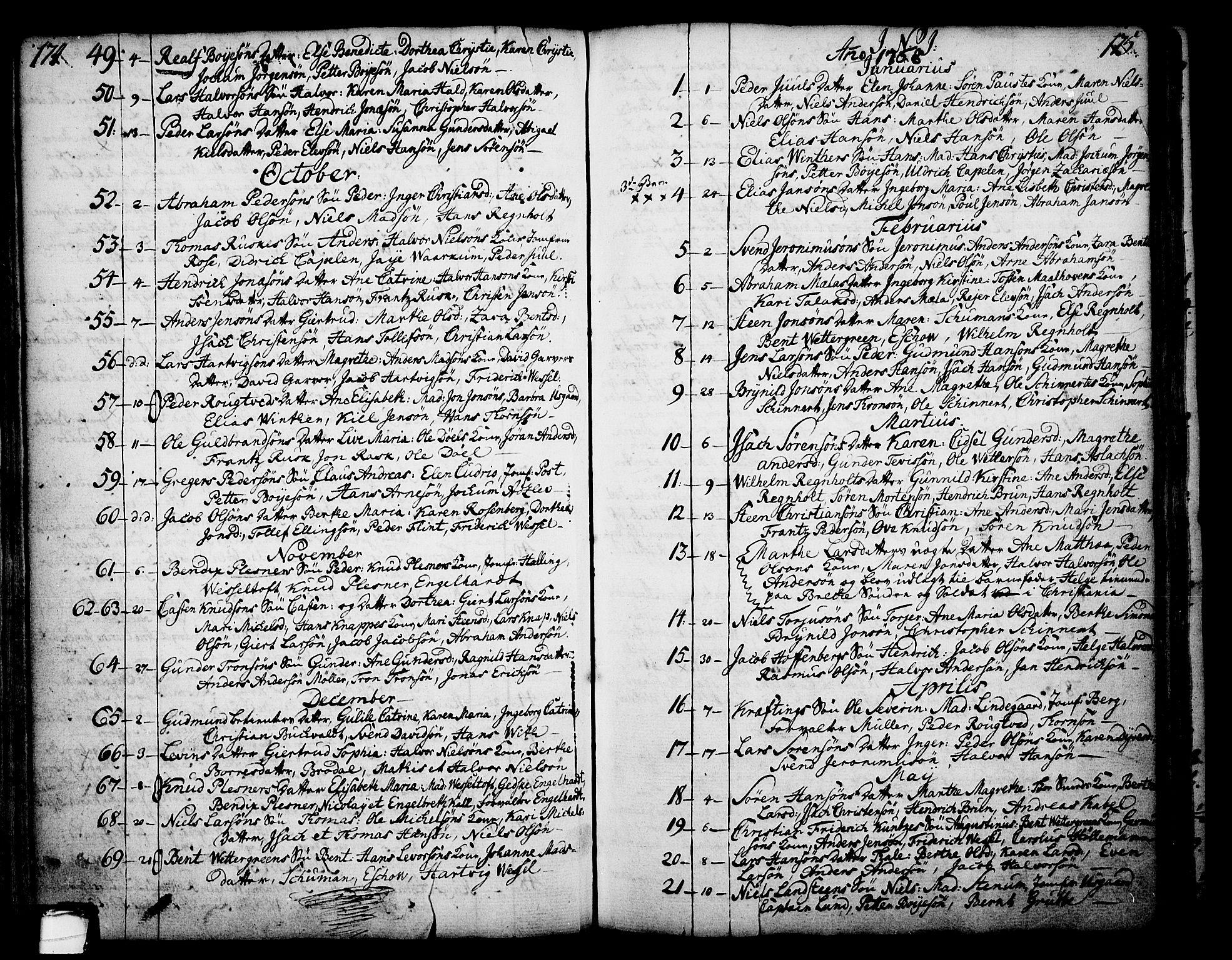 SAKO, Skien kirkebøker, F/Fa/L0003: Ministerialbok nr. 3, 1755-1791, s. 174-175