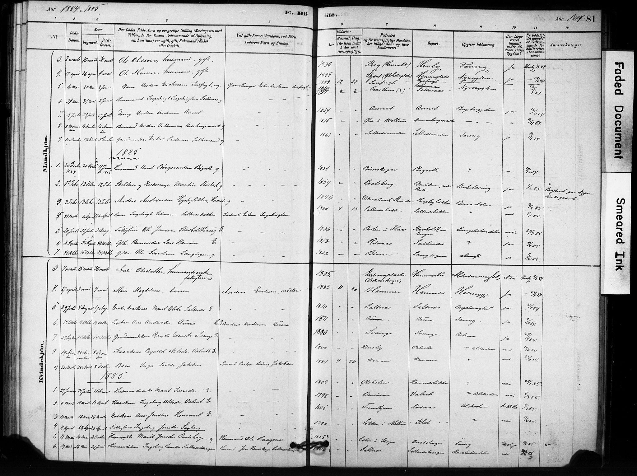 SAT, Ministerialprotokoller, klokkerbøker og fødselsregistre - Sør-Trøndelag, 666/L0786: Ministerialbok nr. 666A04, 1878-1895, s. 81
