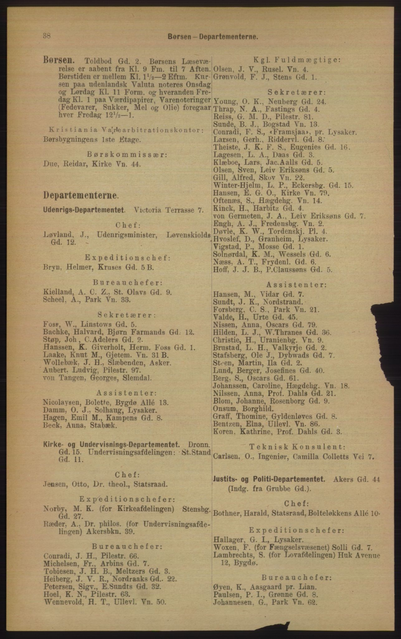 RA, Kristiania adressebok (publikasjon)*, 1906, s. 38