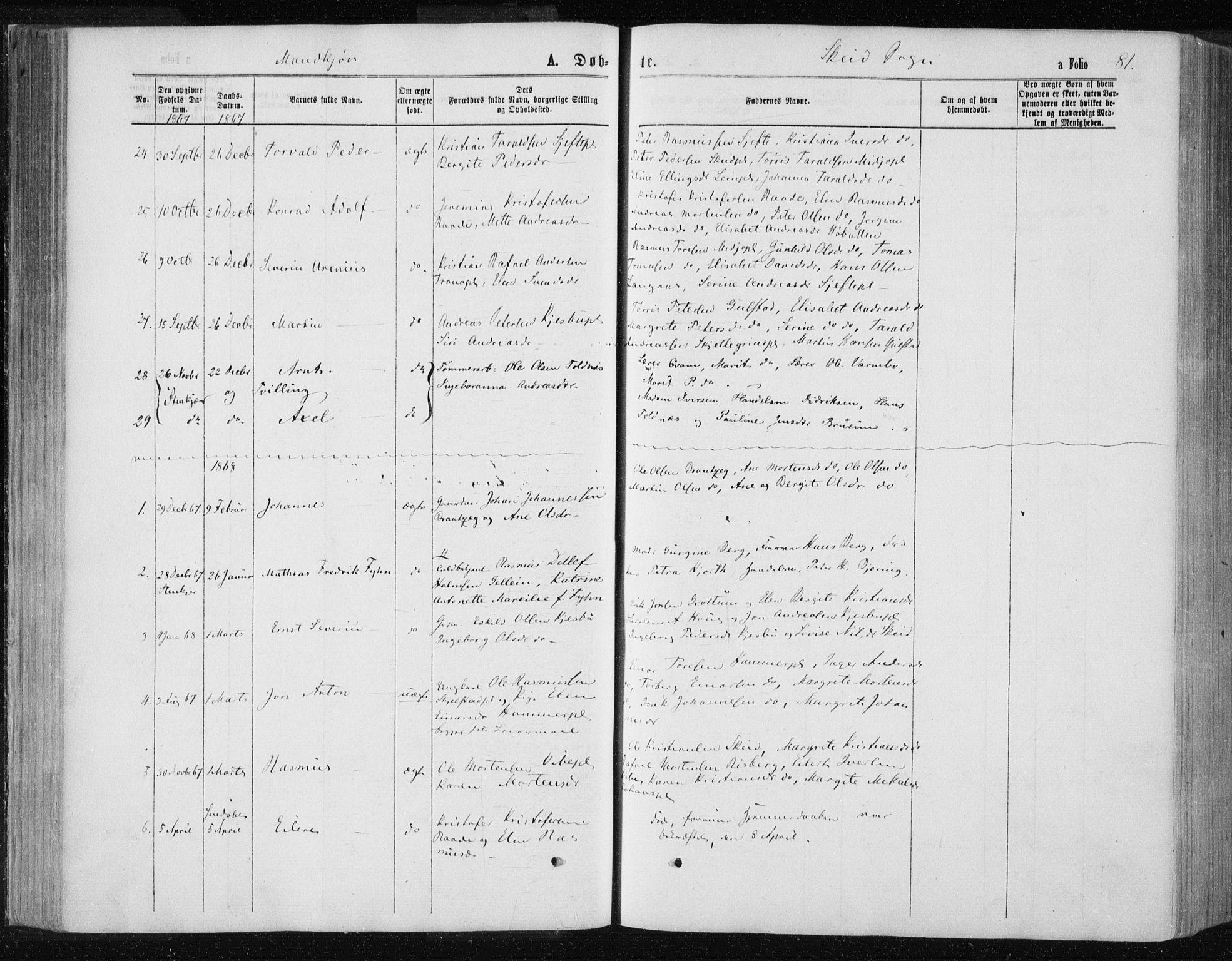 SAT, Ministerialprotokoller, klokkerbøker og fødselsregistre - Nord-Trøndelag, 735/L0345: Ministerialbok nr. 735A08 /2, 1863-1872, s. 81