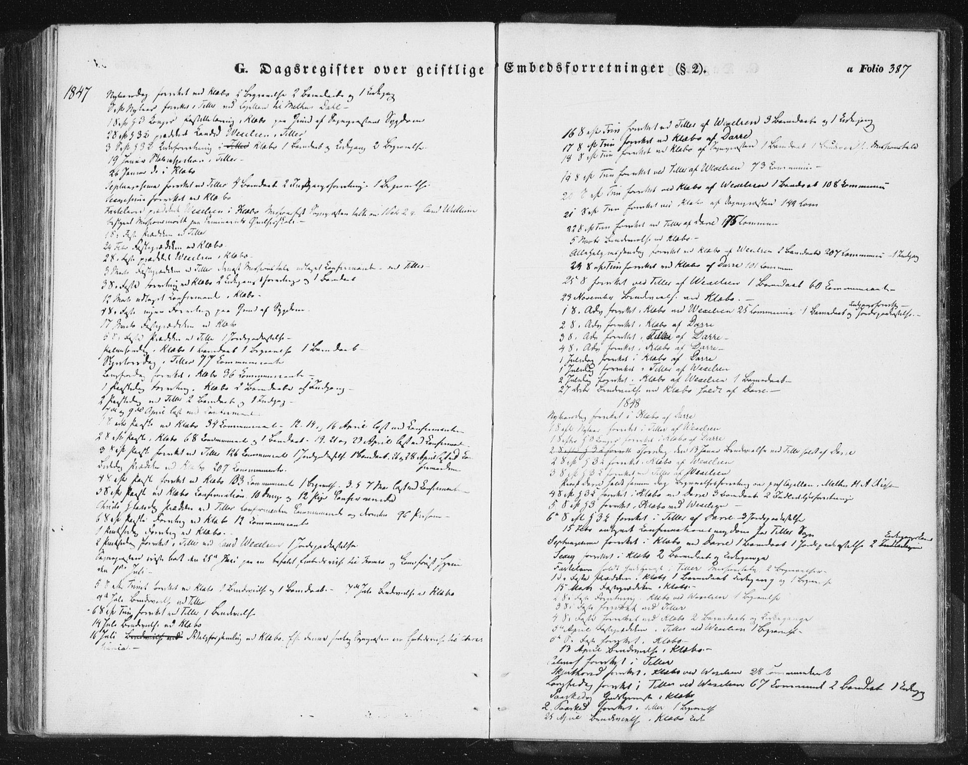 SAT, Ministerialprotokoller, klokkerbøker og fødselsregistre - Sør-Trøndelag, 618/L0441: Ministerialbok nr. 618A05, 1843-1862, s. 387