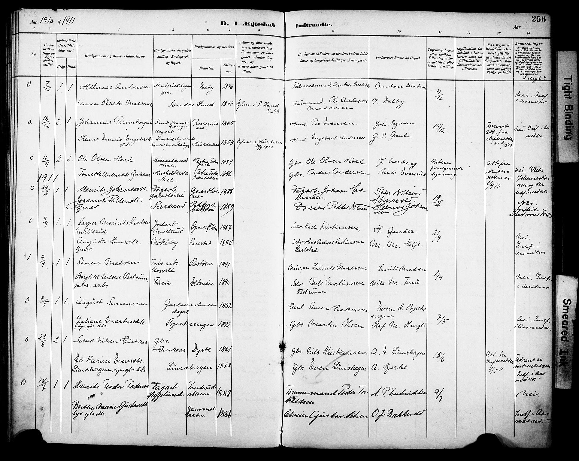 SAH, Vestre Toten prestekontor, Ministerialbok nr. 13, 1895-1911, s. 256