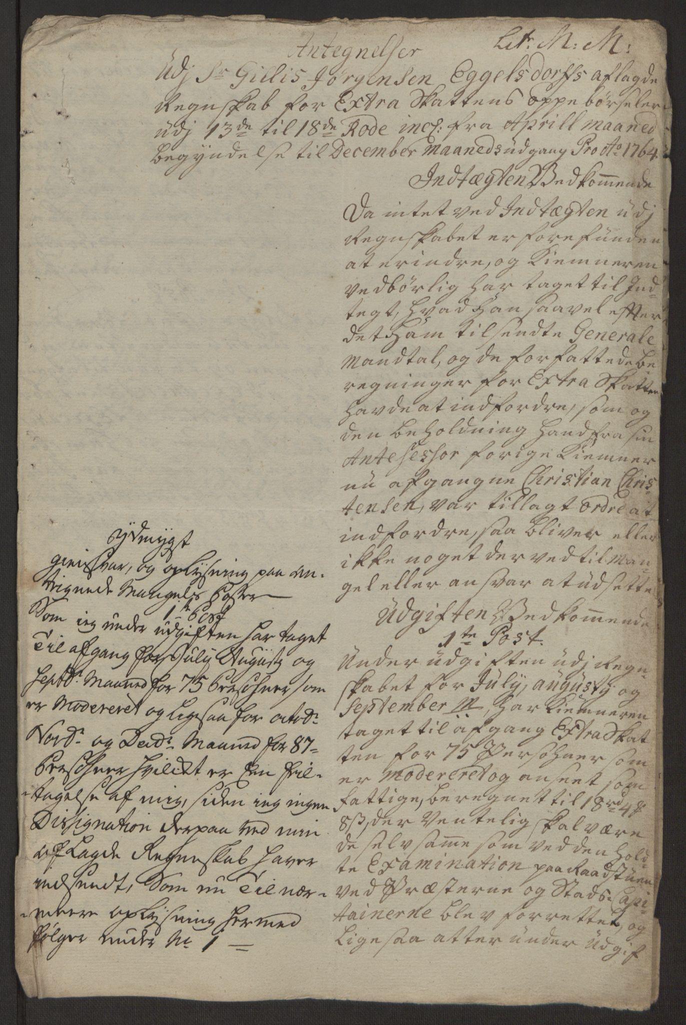 RA, Rentekammeret inntil 1814, Reviderte regnskaper, Byregnskaper, R/Rp/L0368: [P21] Kontribusjonsregnskap, 1764, s. 66