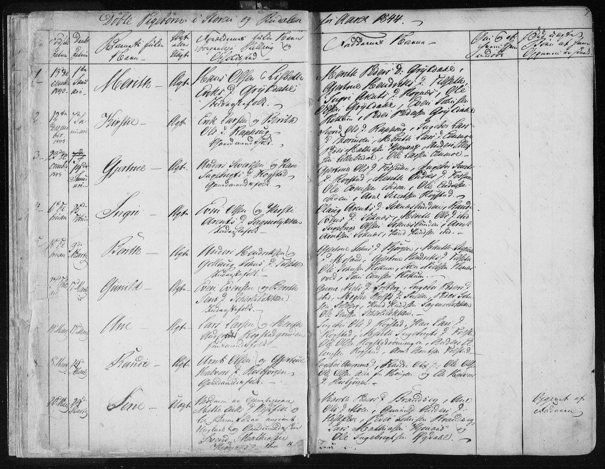 SAT, Ministerialprotokoller, klokkerbøker og fødselsregistre - Sør-Trøndelag, 687/L0997: Ministerialbok nr. 687A05 /1, 1843-1848, s. 7