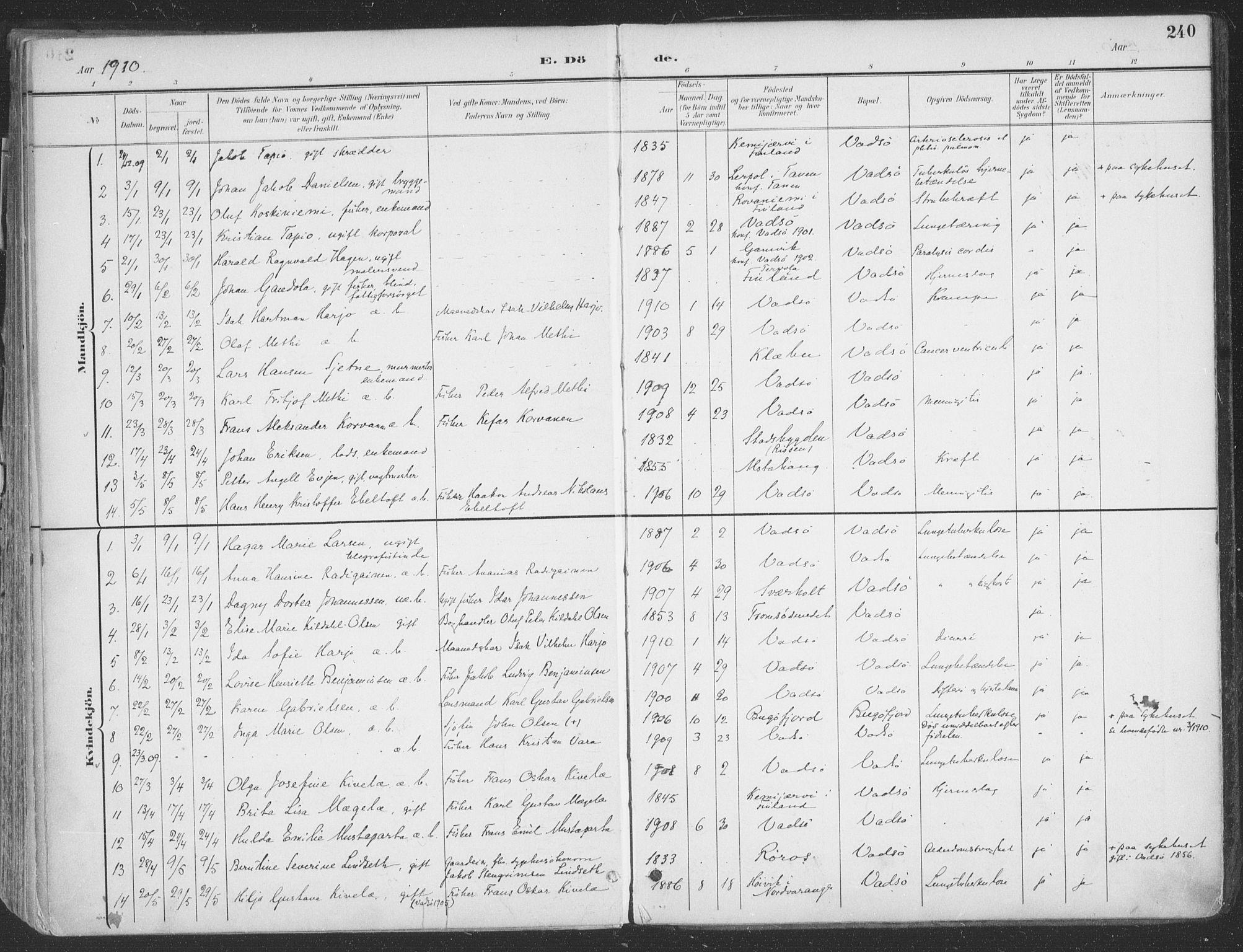 SATØ, Vadsø sokneprestkontor, H/Ha/L0007kirke: Ministerialbok nr. 7, 1896-1916, s. 240
