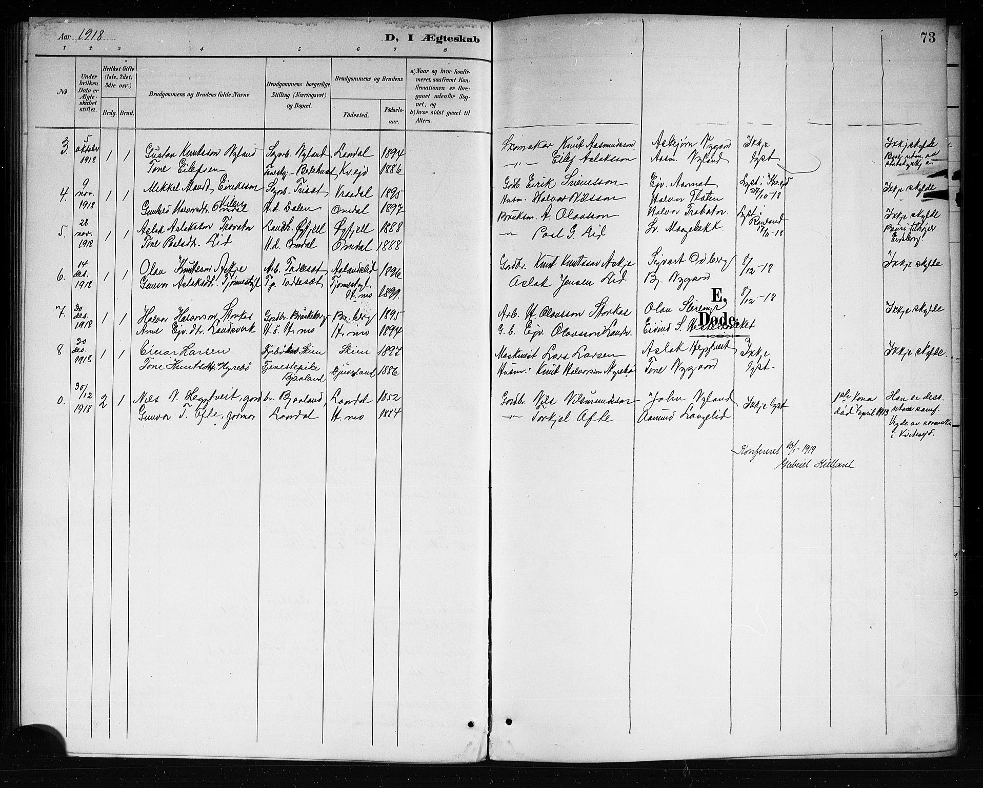 SAKO, Lårdal kirkebøker, G/Ga/L0003: Klokkerbok nr. I 3, 1891-1918, s. 73