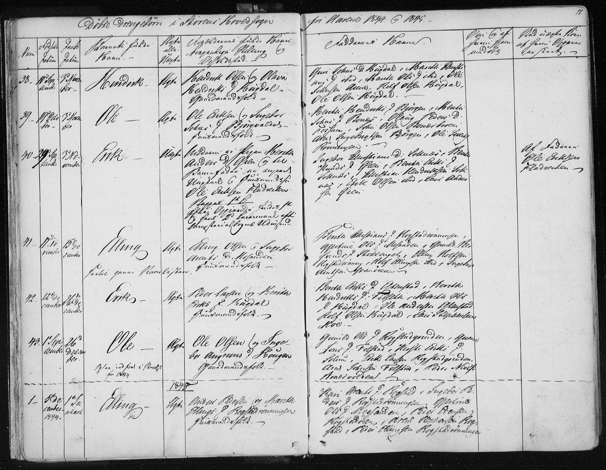 SAT, Ministerialprotokoller, klokkerbøker og fødselsregistre - Sør-Trøndelag, 687/L0997: Ministerialbok nr. 687A05 /1, 1843-1848, s. 17