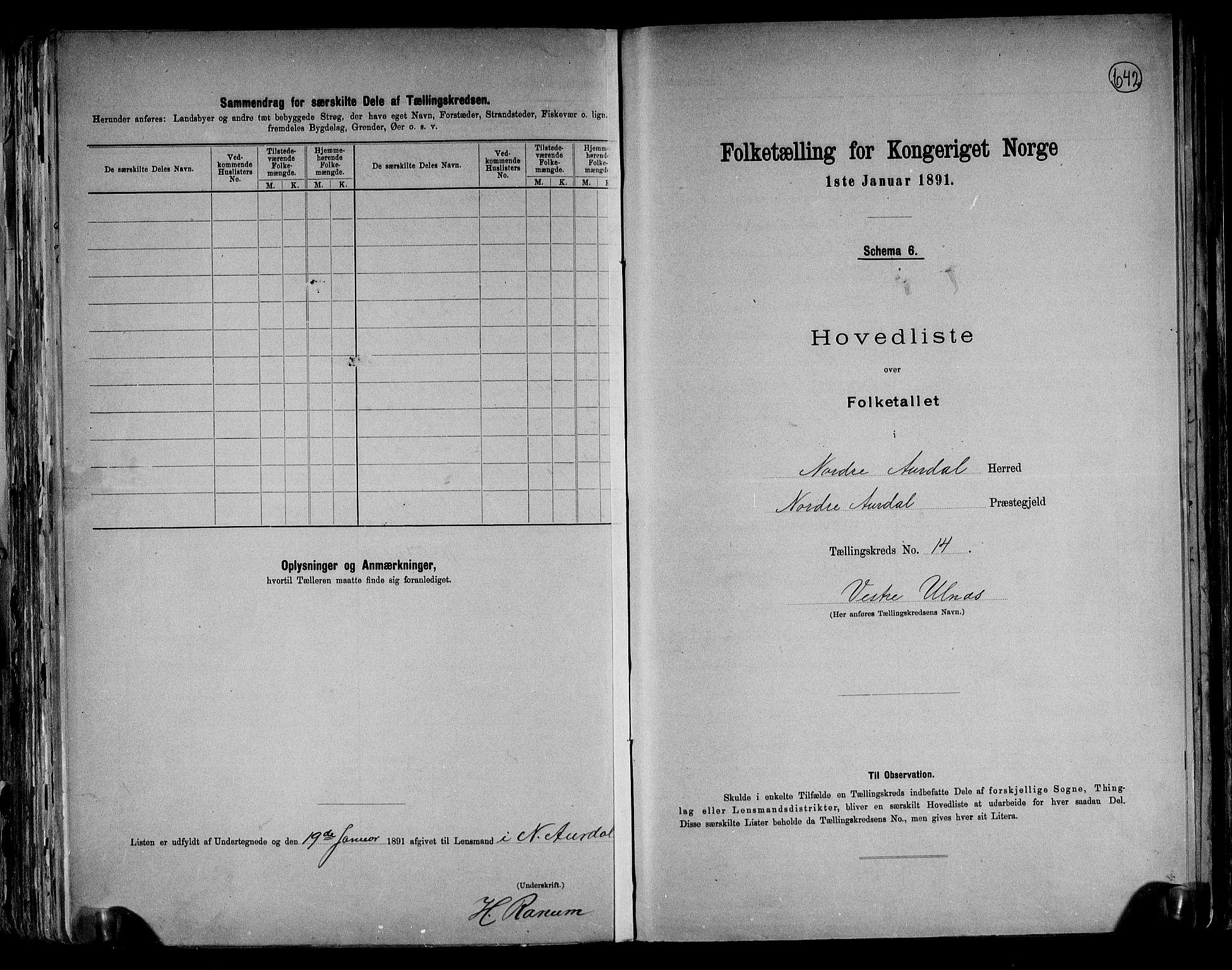 RA, Folketelling 1891 for 0542 Nord-Aurdal herred, 1891, s. 37